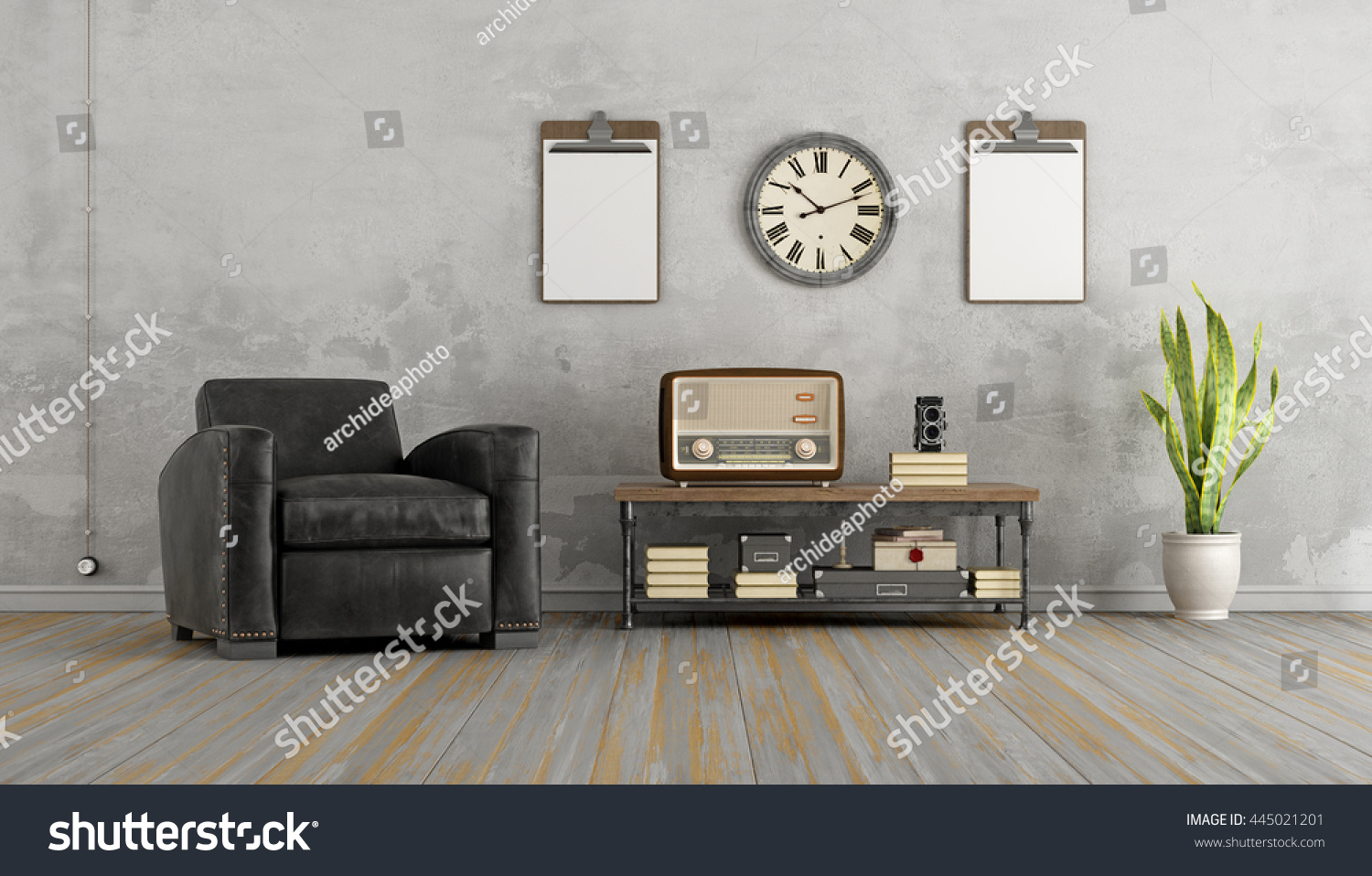 Vintage Living Room With Black Armchair And Old Radio On Coffee Table