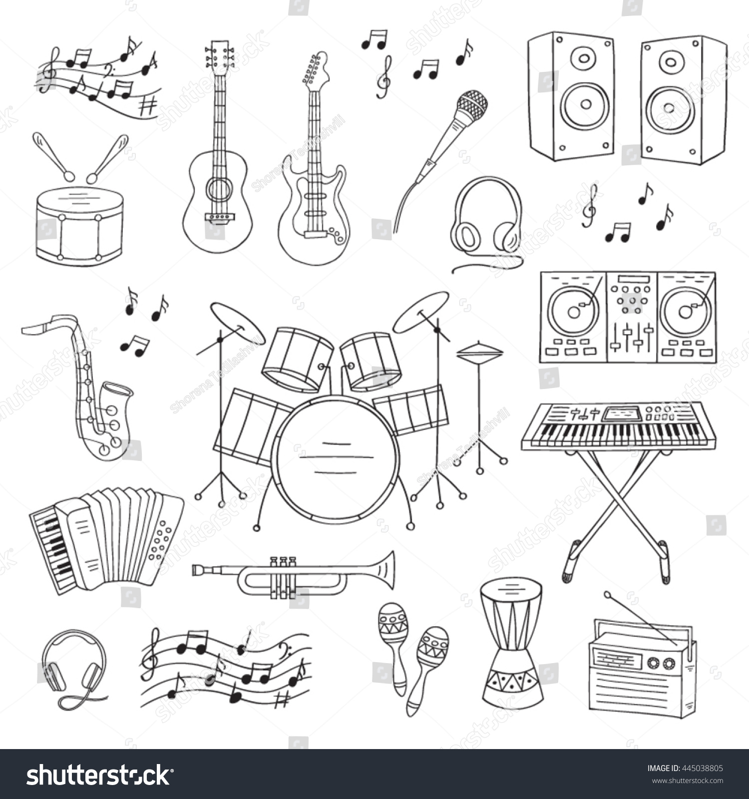 Music icon set vector illustrations hand stock vector 445038805 music icon set vector illustrations hand drawn doodle musical instruments and symbols guitar drum biocorpaavc Gallery