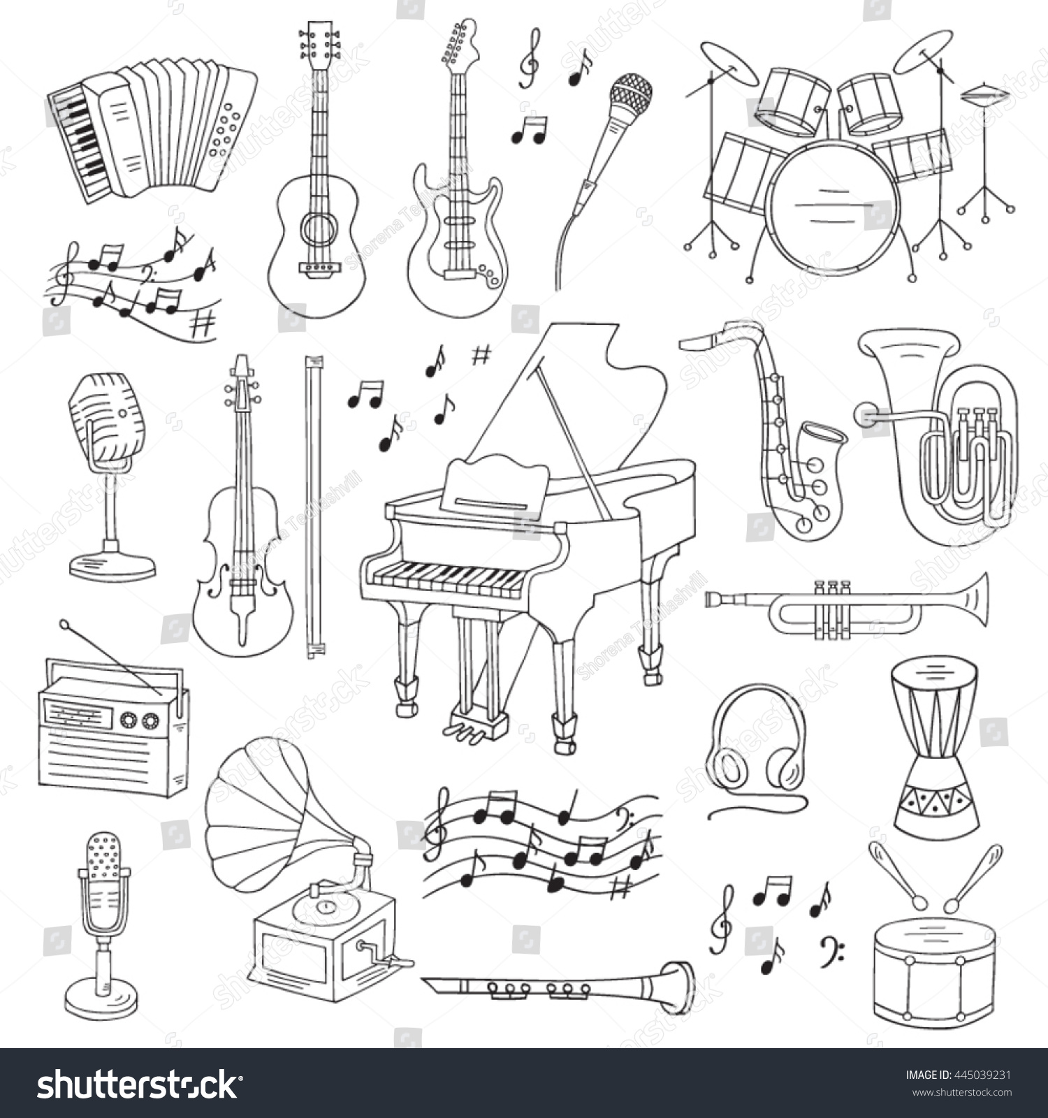 Music icon set vector illustrations hand stock vector 445039231 music icon set vector illustrations hand drawn doodle musical instruments and symbols piano guitar biocorpaavc Gallery