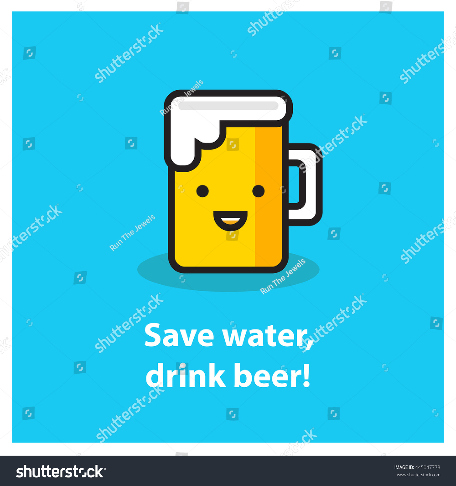 Poster design on save water - Save Water Drink Beer Line Art In Flat Style Vector Illustration Quote Poster