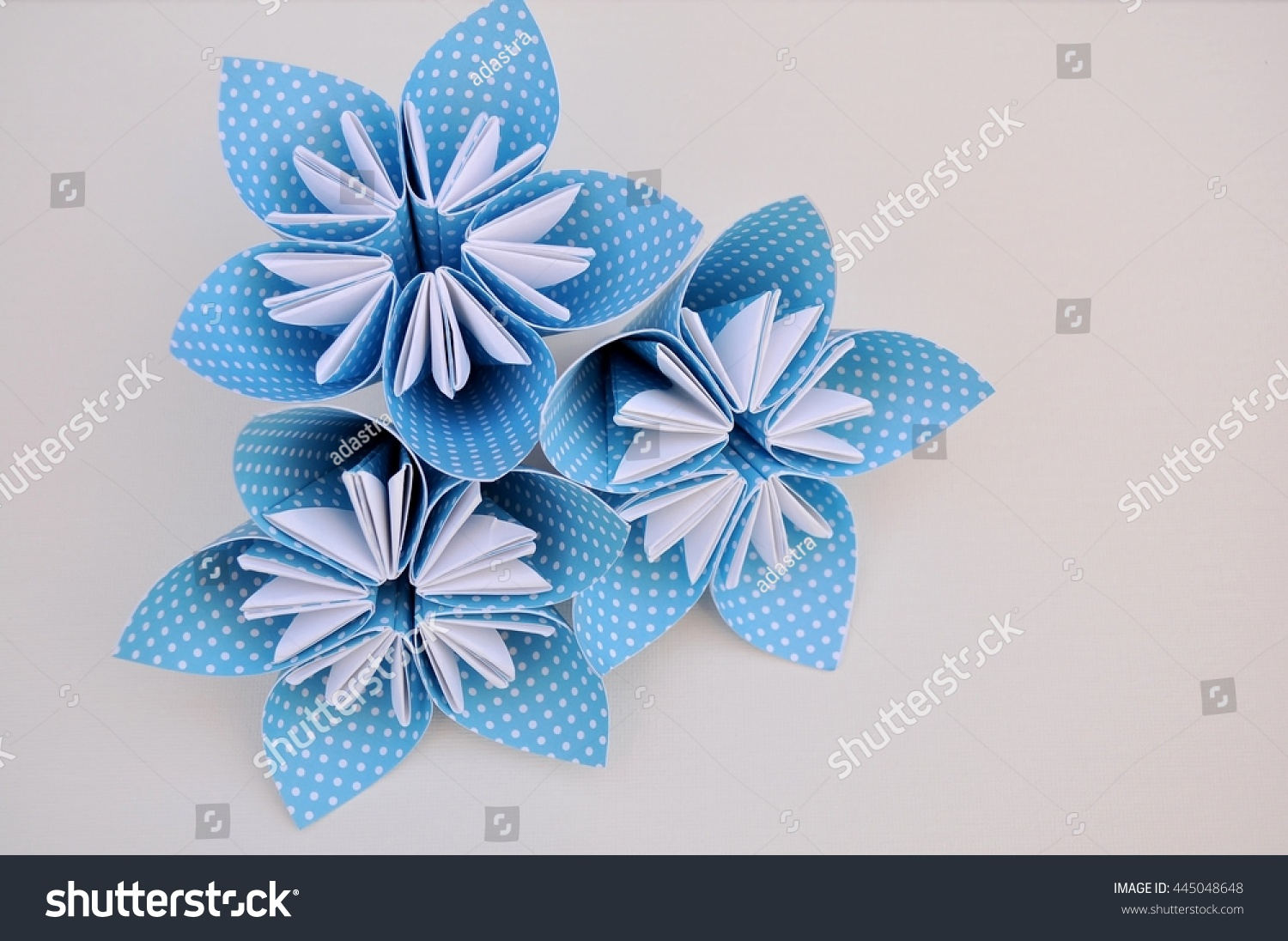 Blue Origami Flowers Bouquet Made Polka Stock Photo Royalty Free