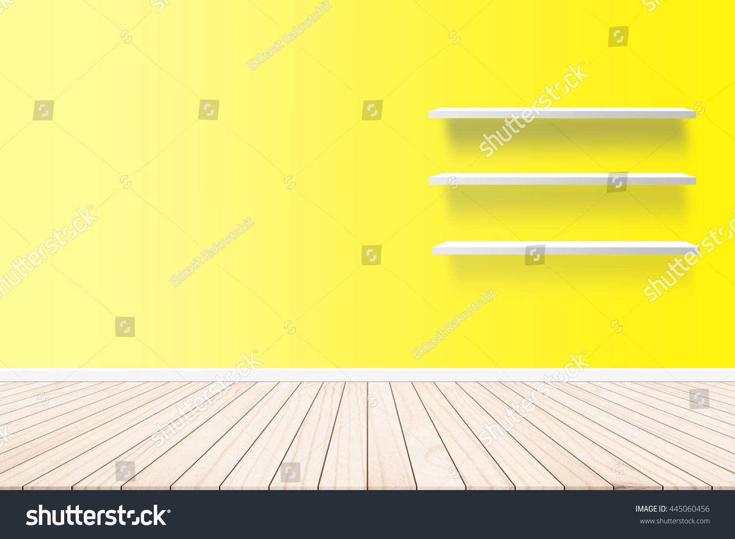Wood Terrace Background Cement Wall Shelf Stock Photo (100% Legal ...