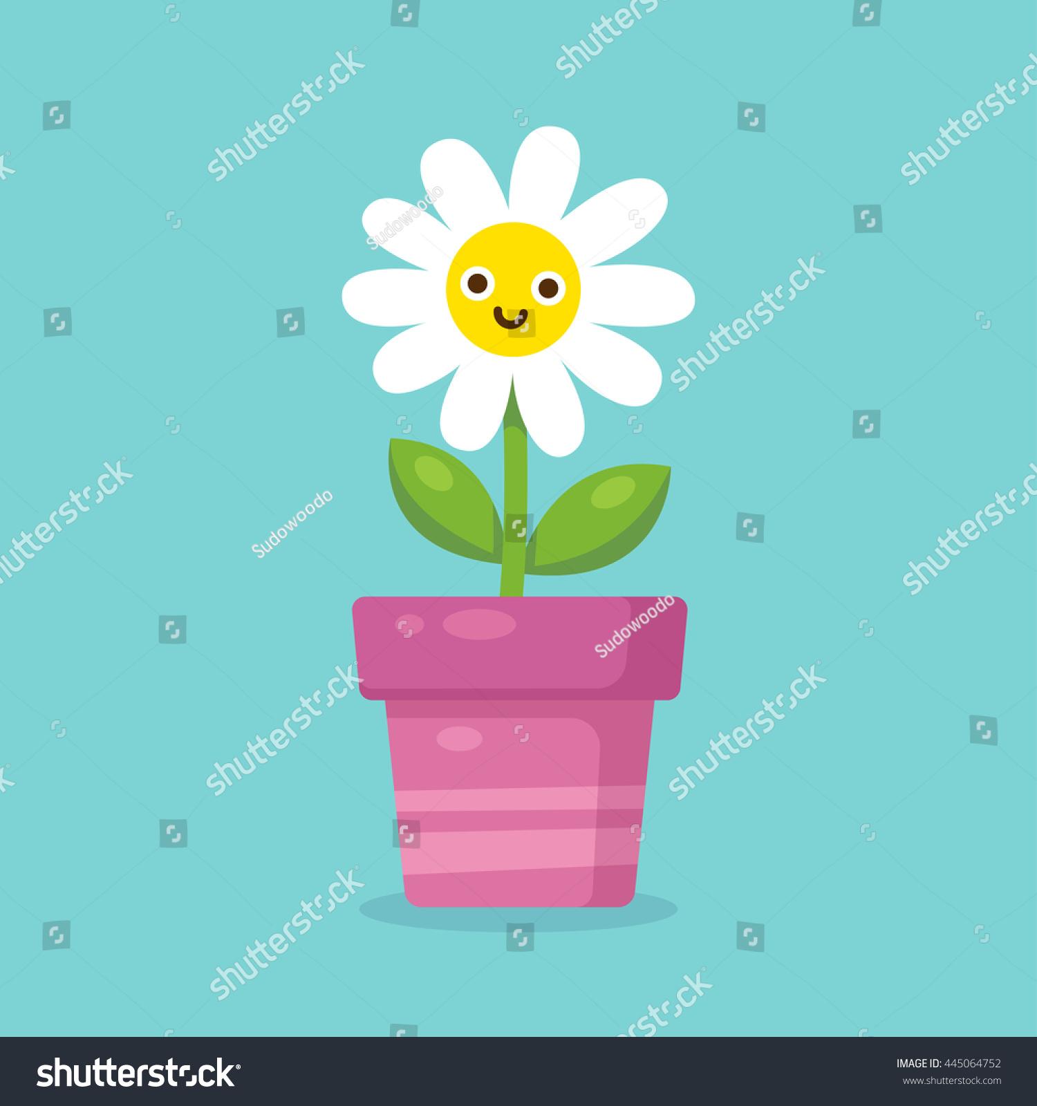 Cute cartoon happy flower pot adorable stock vector 445064752 cute cartoon happy flower in pot adorable smiling daisy flower in simple modern flat style izmirmasajfo