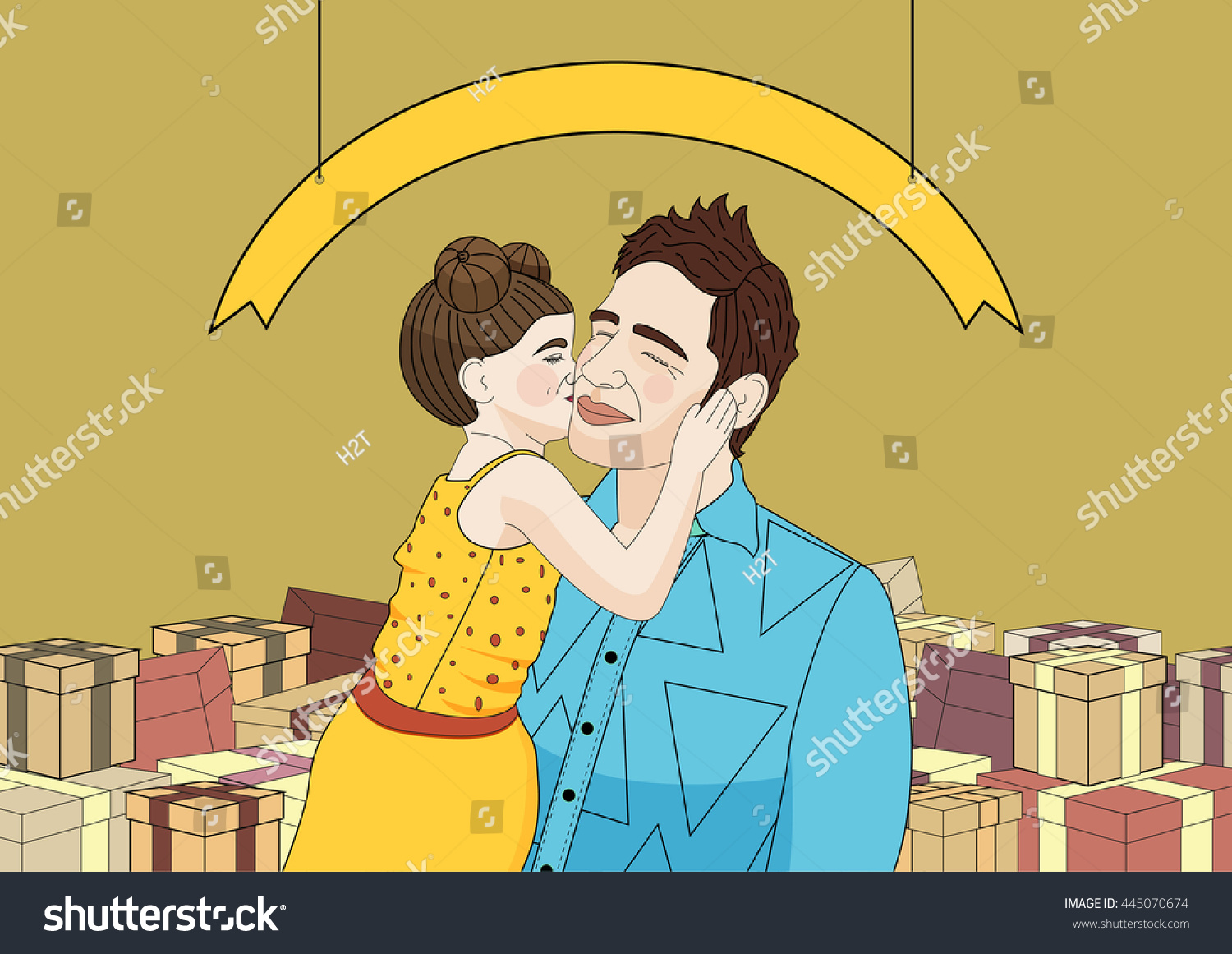 Girl Kissing Her Dad Fathers Day Daughter Stock Vector 445070674 - Shutterstock-7688