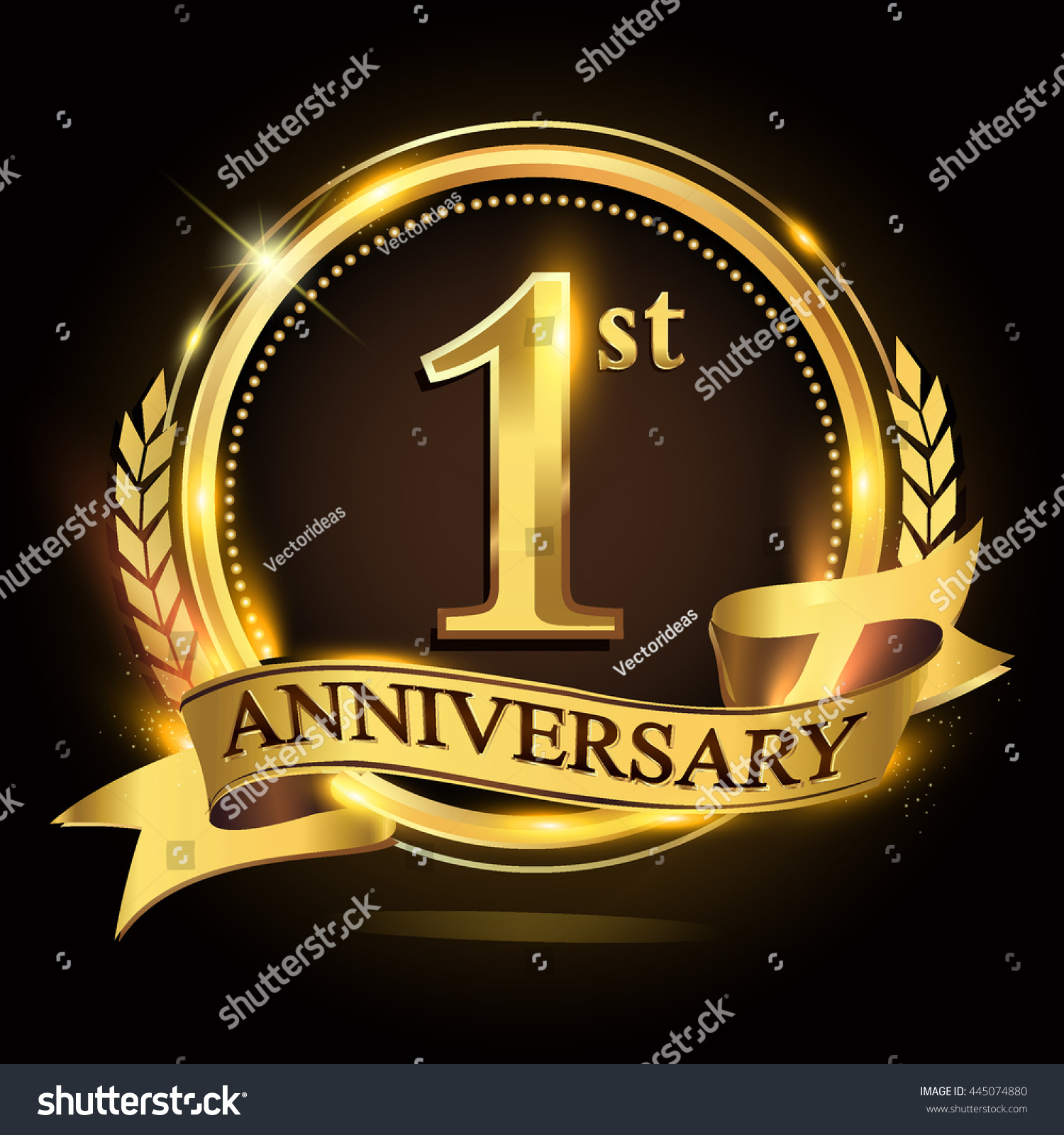 St golden anniversary logo ring ribbon stock vector