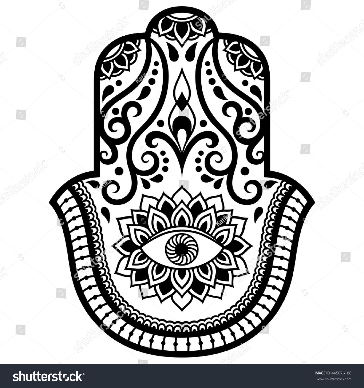 Elegant Hand Drawn Isolated Traditional Jewish Sacred Amulet And