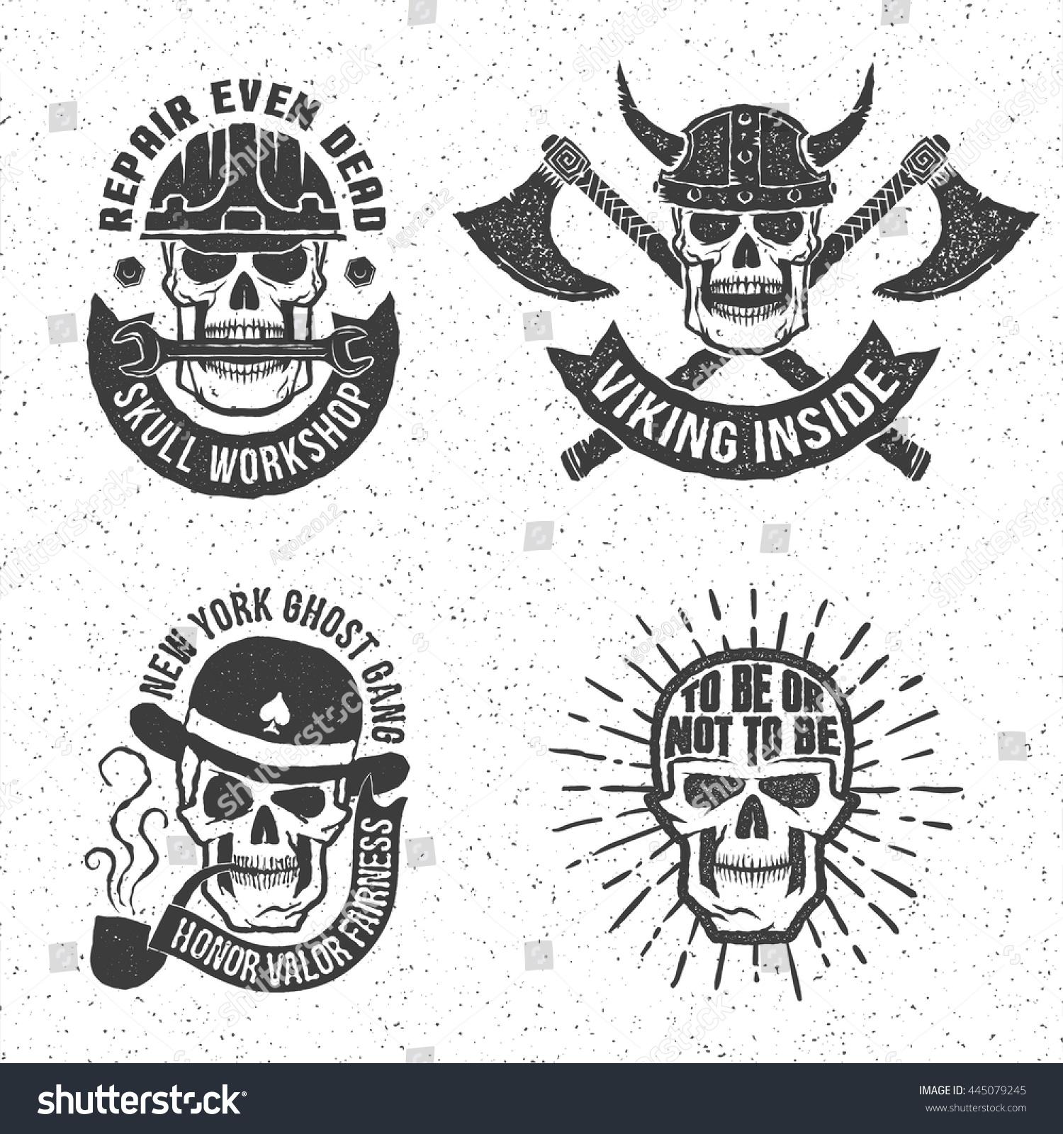 Vintage Skull Emblems With Letterpress Or Rubber Stamp Effect Background On Separate Layer Vector