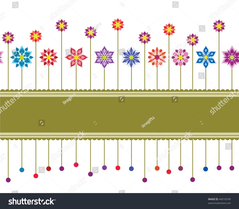 Seamless Colourful Retro Floral Border Wallpaper Stock Vector