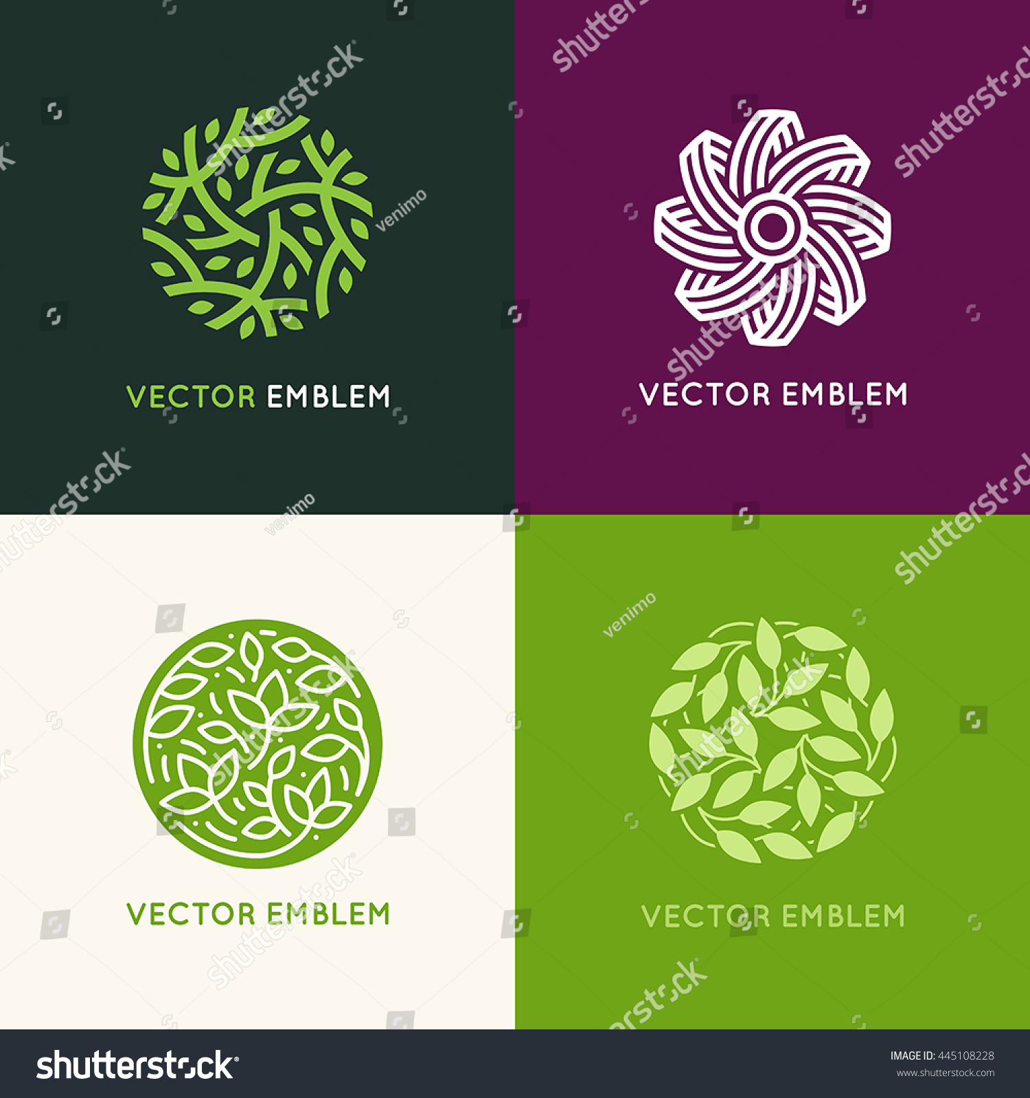 Vector Set Abstract Green Logo Design Stock Vector