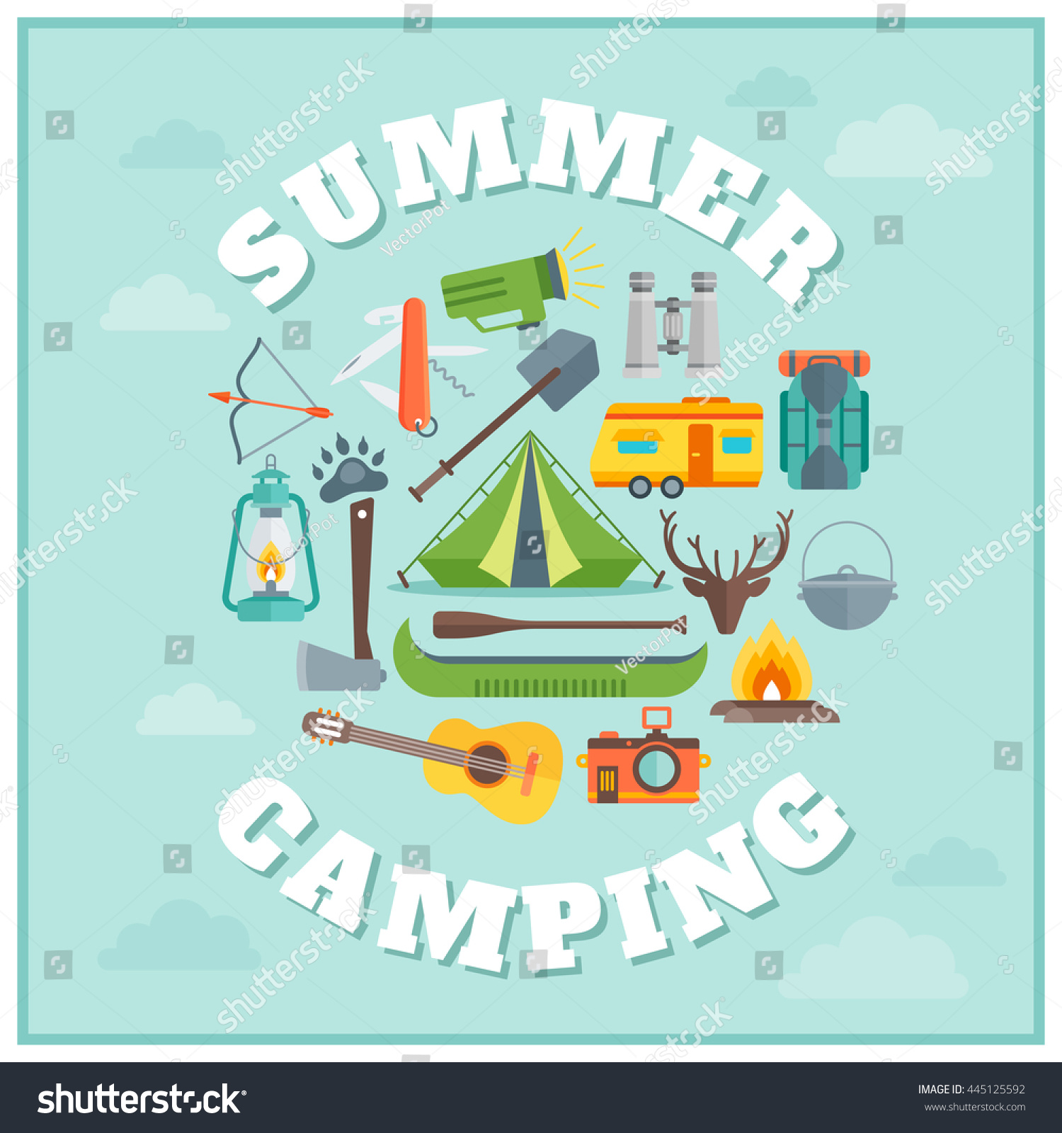 Summer camping round design with tourist equipment vehicles guitar antlers on blue background with clouds vector illustration