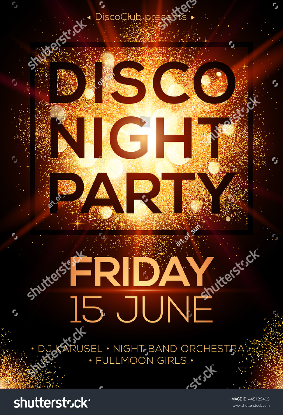 Disco night party vector poster template stock vector for Golden night