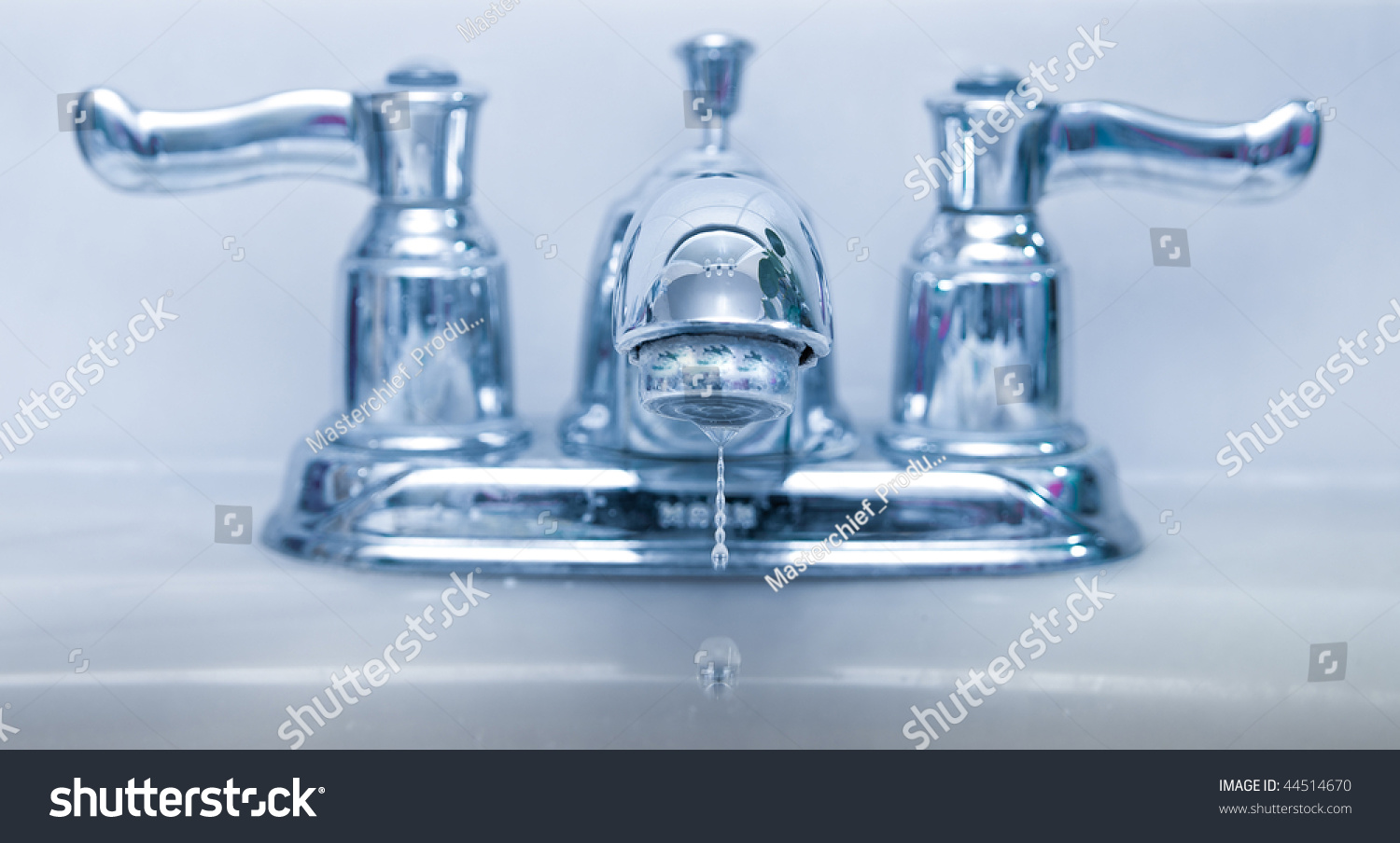 Leaking Faucet Abstract Blue Lighting Water Stock Photo 44514670 ...