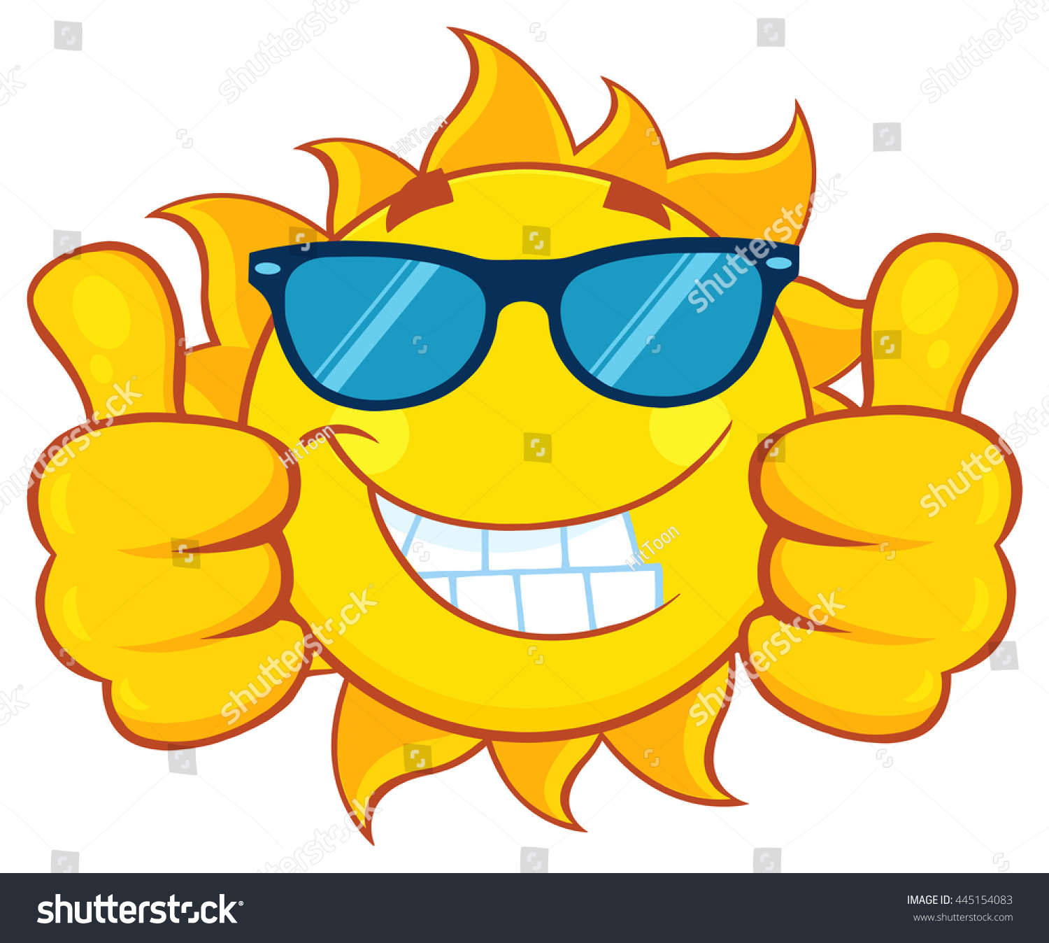Smiling sun with sunglasses - Smiling Sun Cartoon Mascot Character With Sunglasses Giving A Double Thumbs Up Vector Illustration Isolated