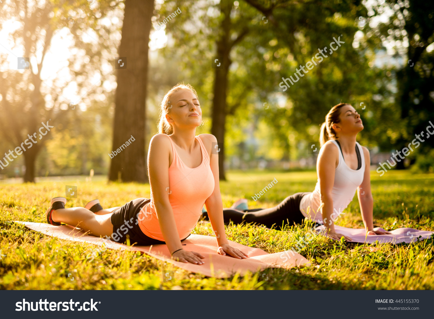 Women doing yoga outdoors in the park