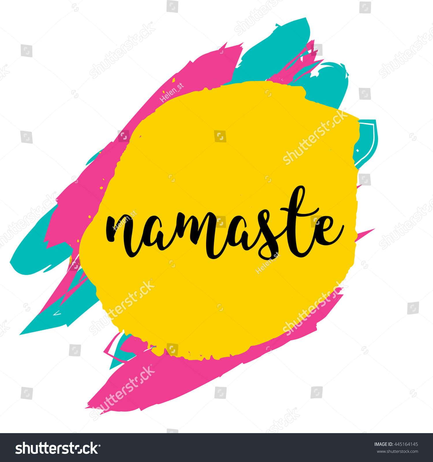 Hand Drawn Namaste Quote Typography Concept Stock Vector 445164145 ...