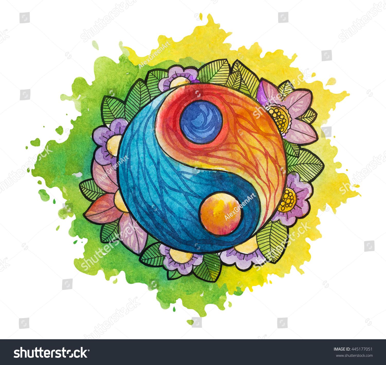 Watercolor Yin Yang Simbol. Watercolor Tattoo. Stock Photo ...