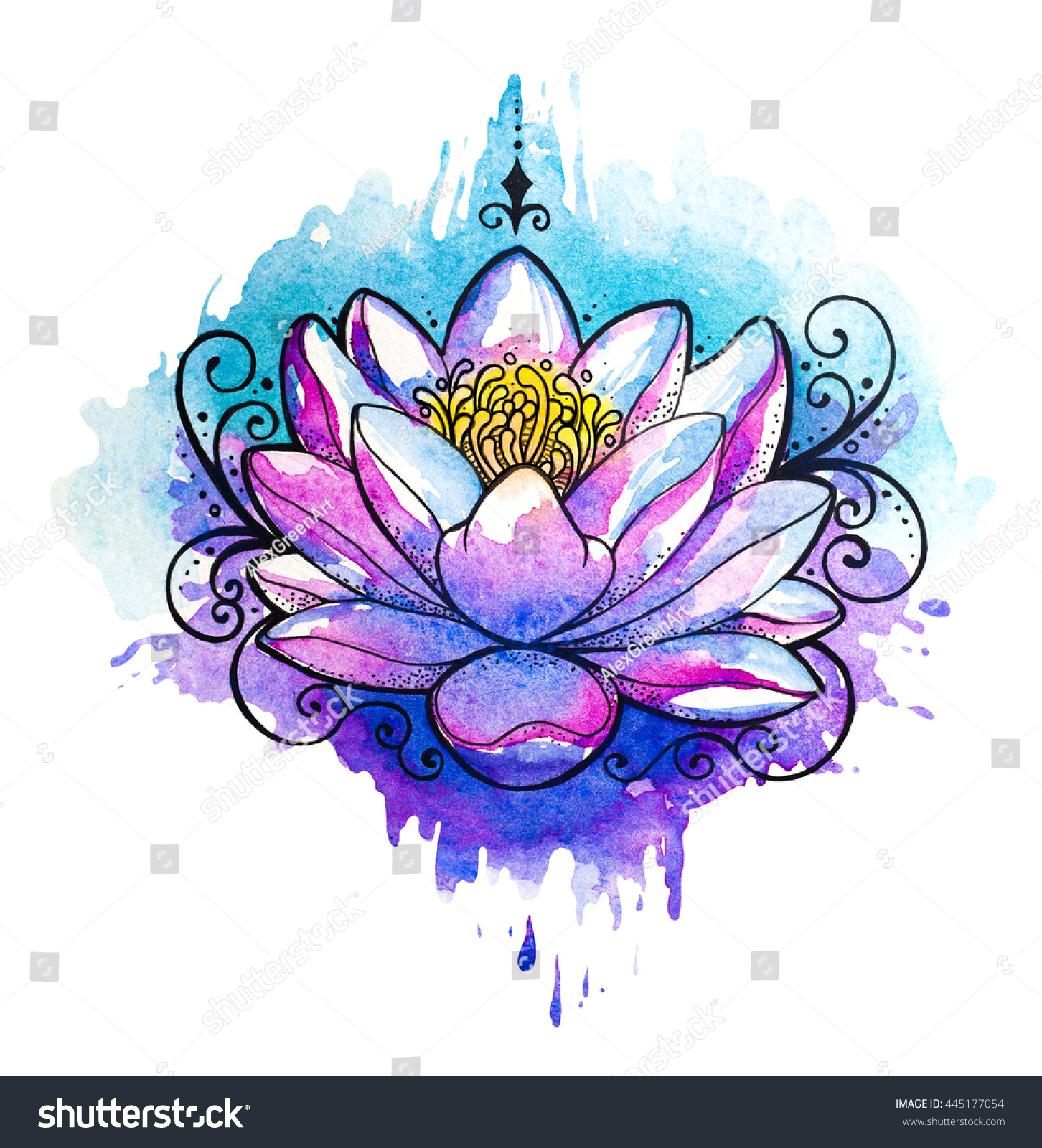 Watercolor Yin Yang Simbol Watercolor Tattoo Stock Illustration ...