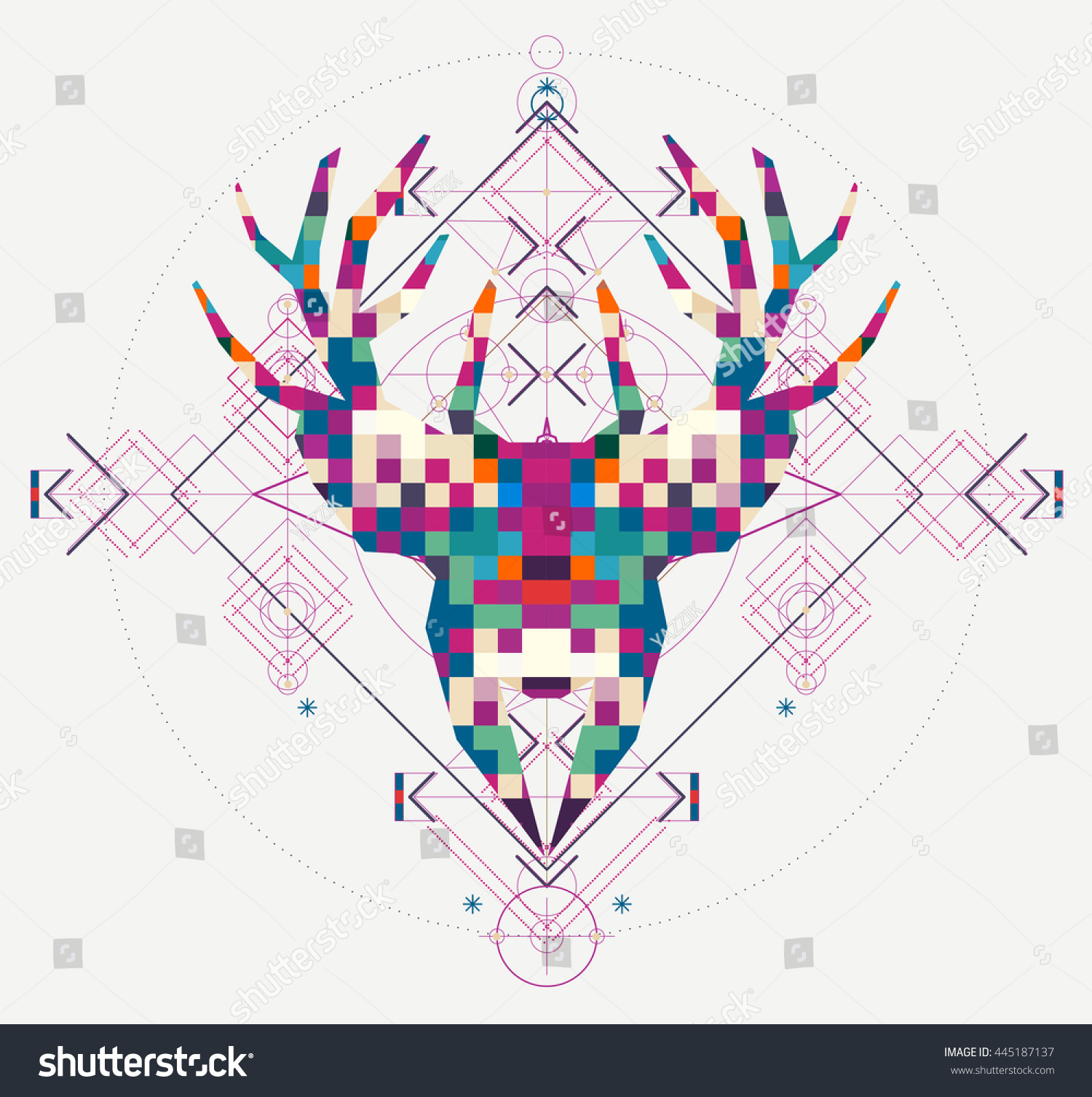 Tiger head triangular icon geometric trendy stock vector image - Animal Head Deer Triangular Pixel Icon Geometric Trendy Line Design Indian Pattern Vector Illustration
