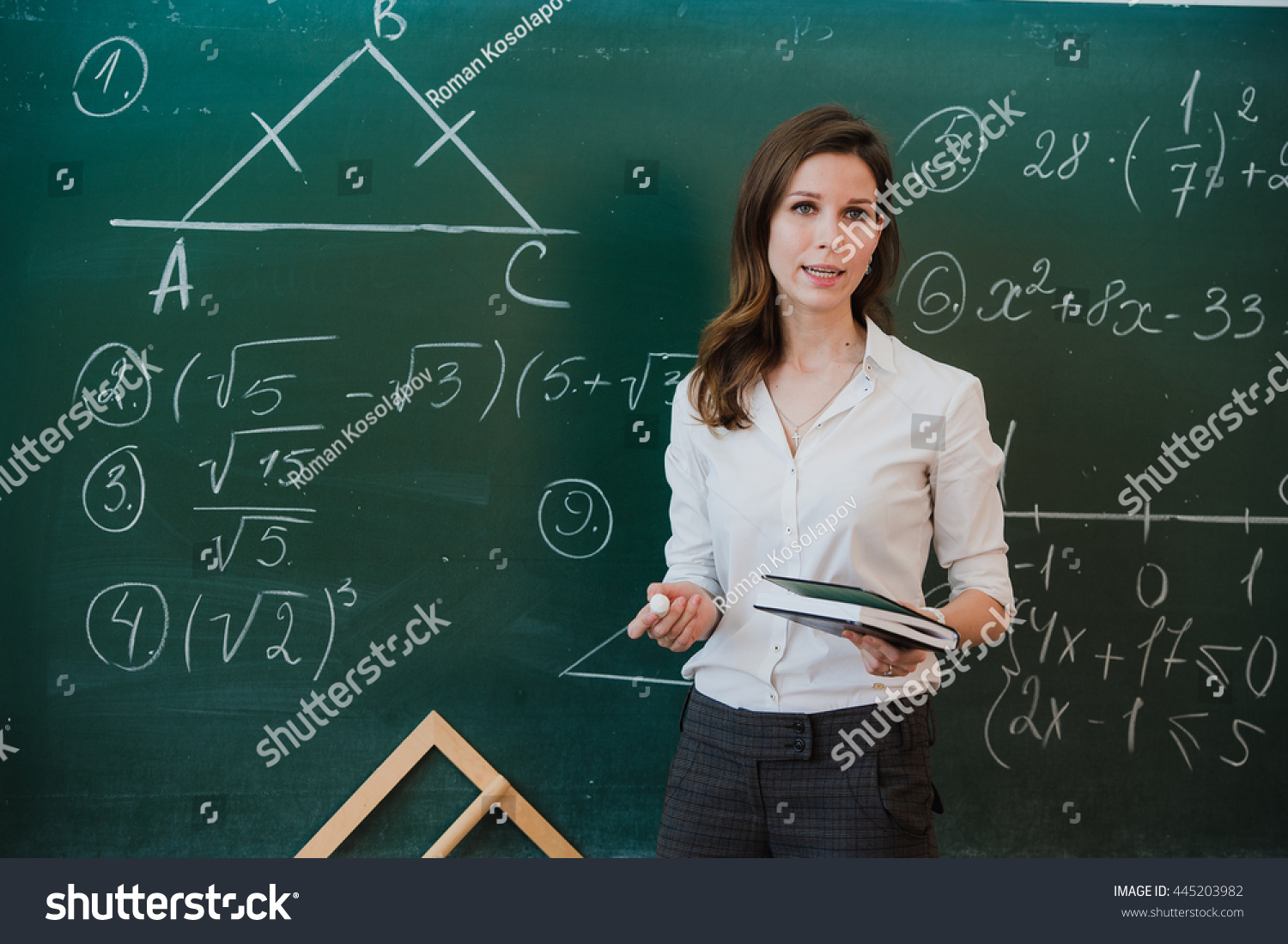 Young Attractive Female Teacher Maths Interacting Stock Photo ...