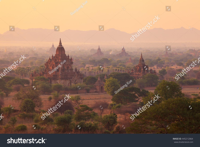 Misty sunrise from Shwesandaw Pagoda Bagan Myanmar