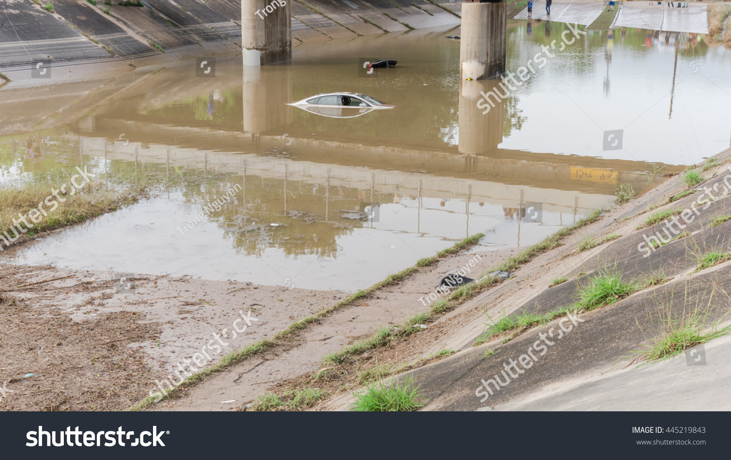 car swamped by flood water near stock photo 445219843 shutterstock. Black Bedroom Furniture Sets. Home Design Ideas