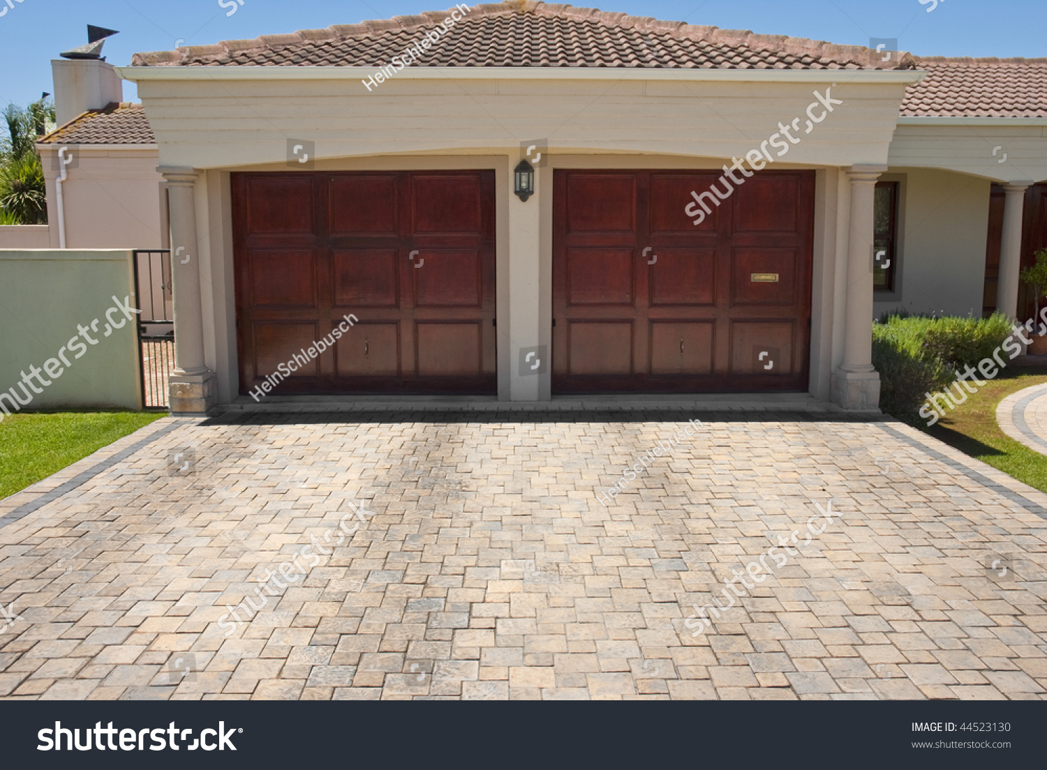 Wooden brown double garage doors big stock photo 44523130 for Two door garage
