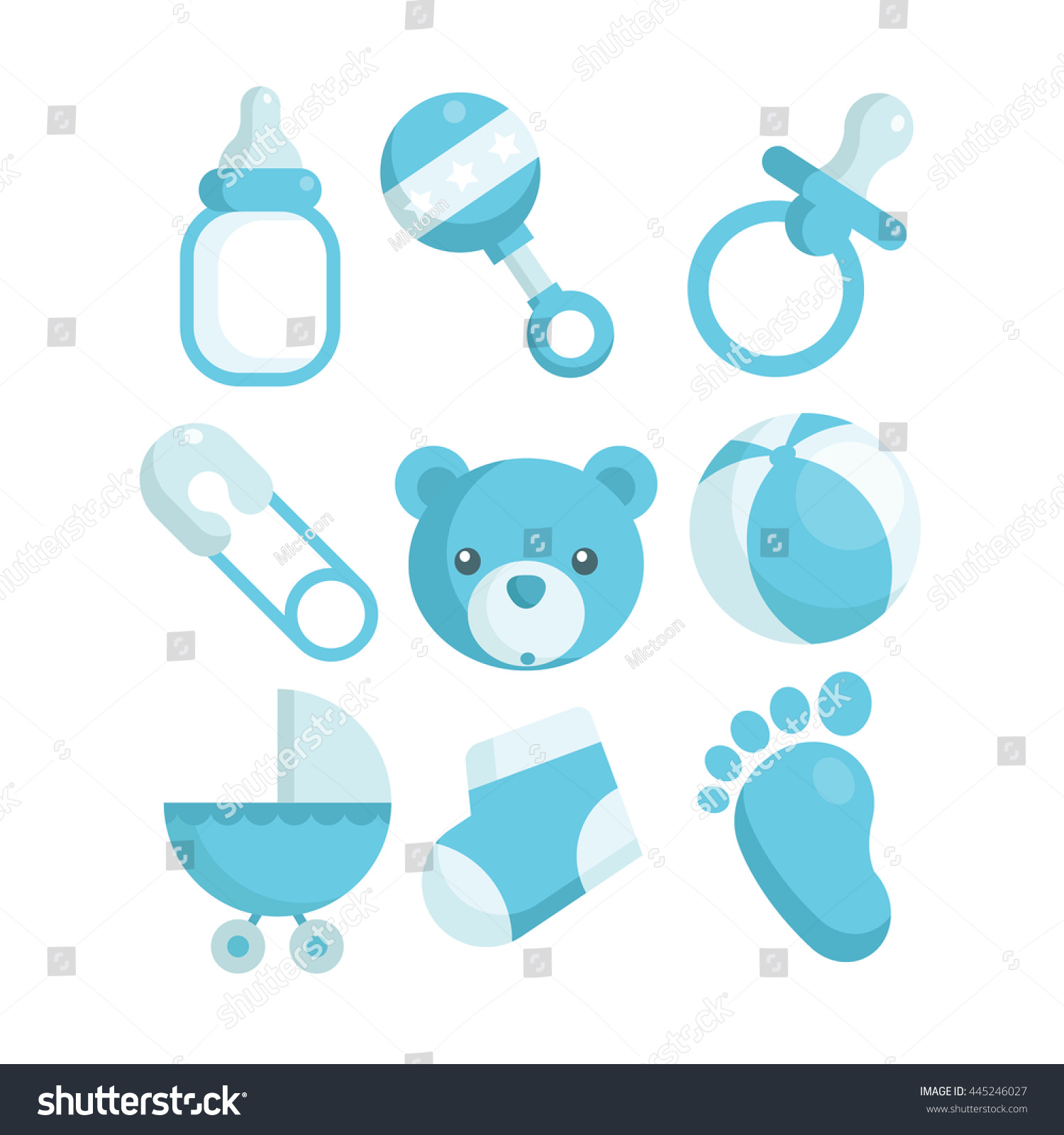 Baby Blue Bathroom Set: Set Blue Baby Shower Icons เวกเตอร์สต็อก 445246027