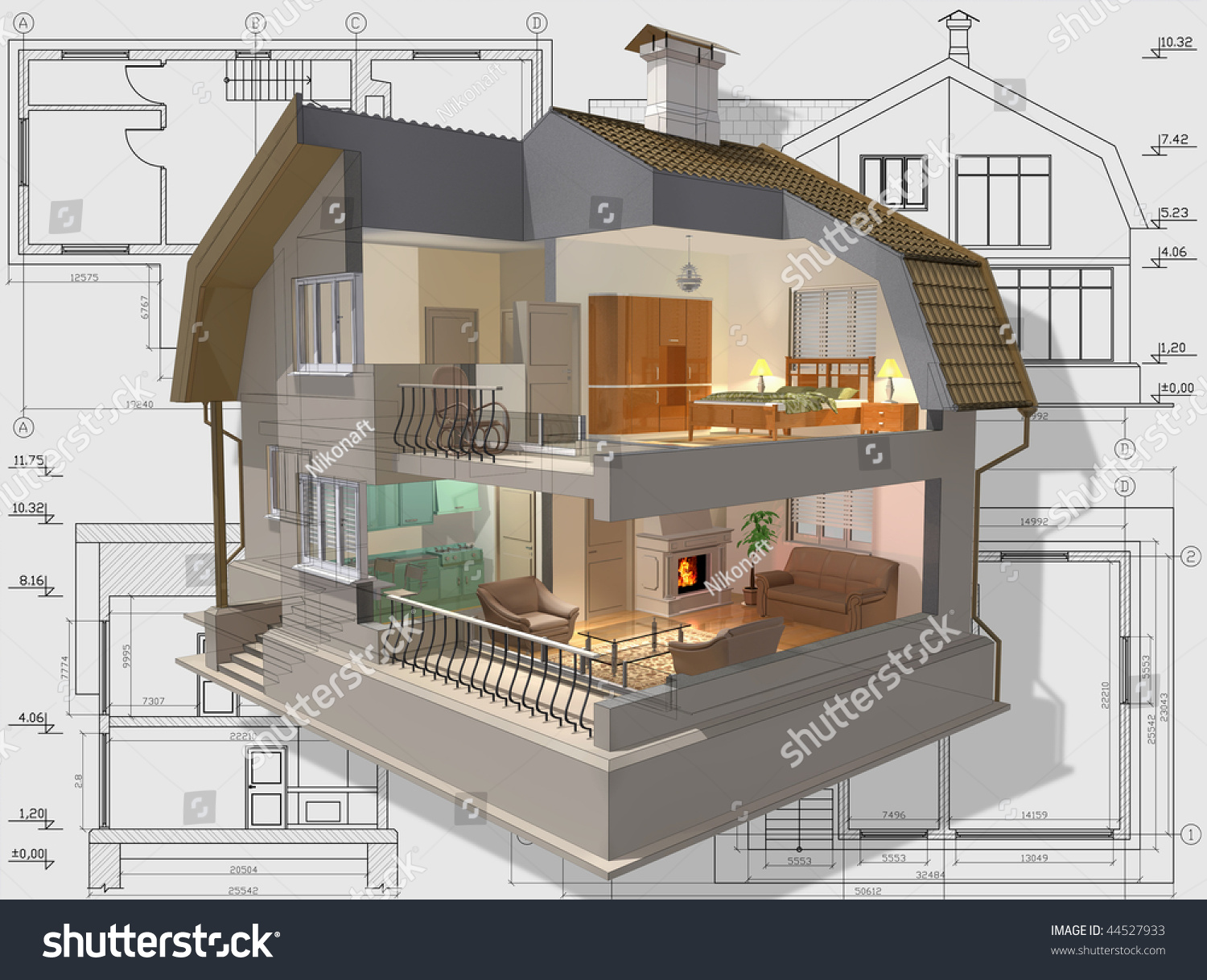 isometric view of house