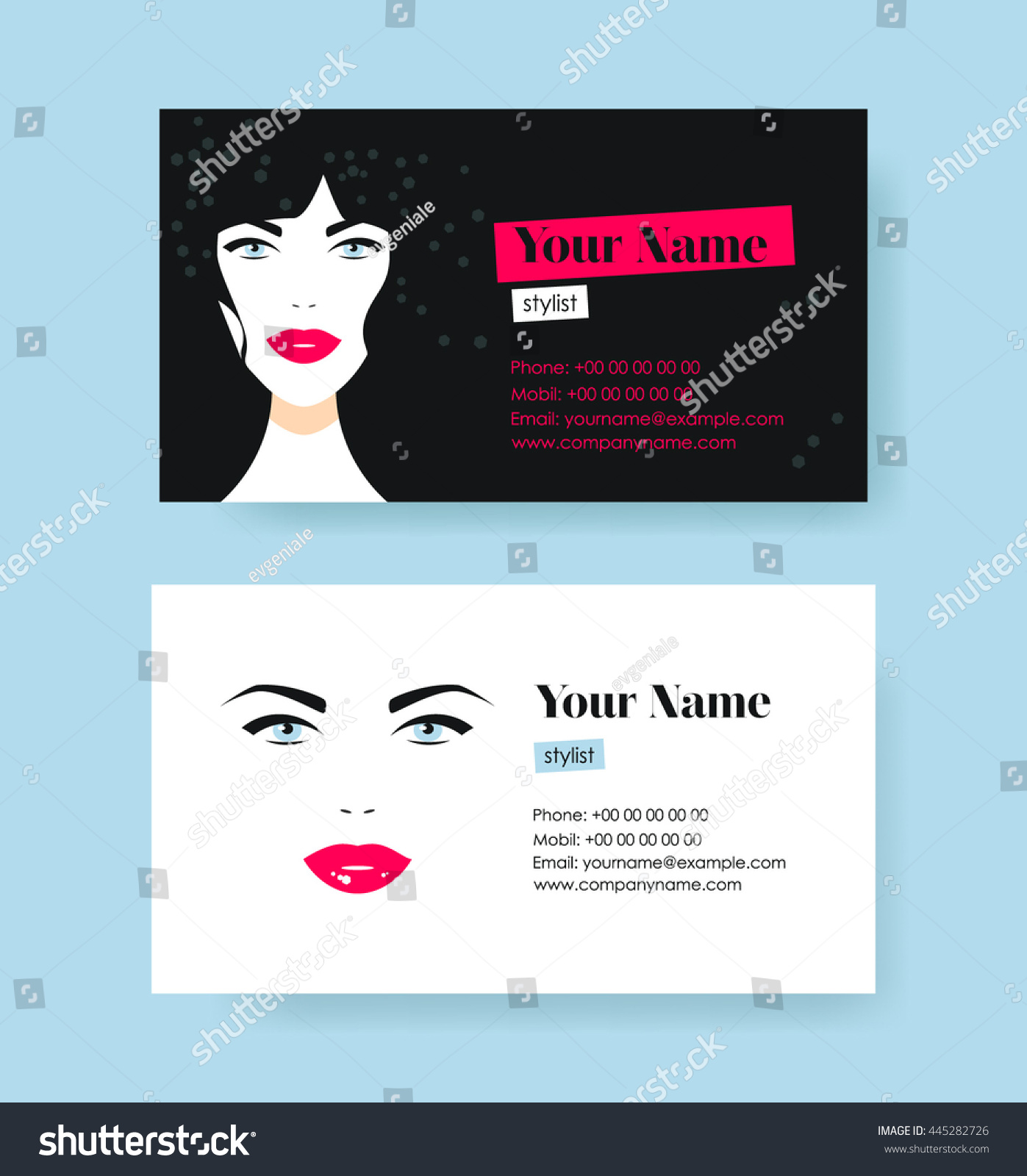 Set Horizontal Cosmetic Business Cards On Stock Vector Royalty Free