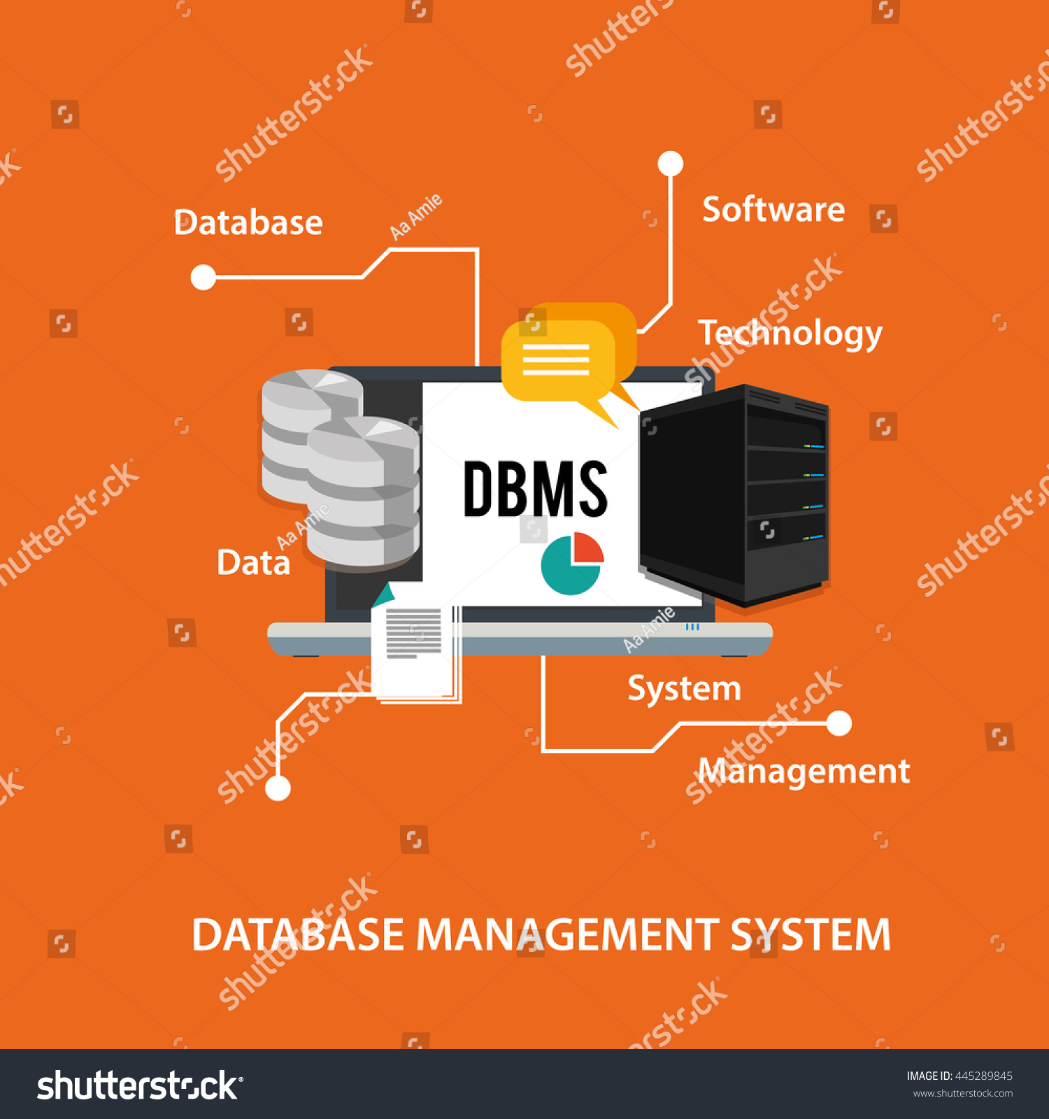 Dbms Database Management System Computer Data Stock Vector Royalty Security Requirements Symbol