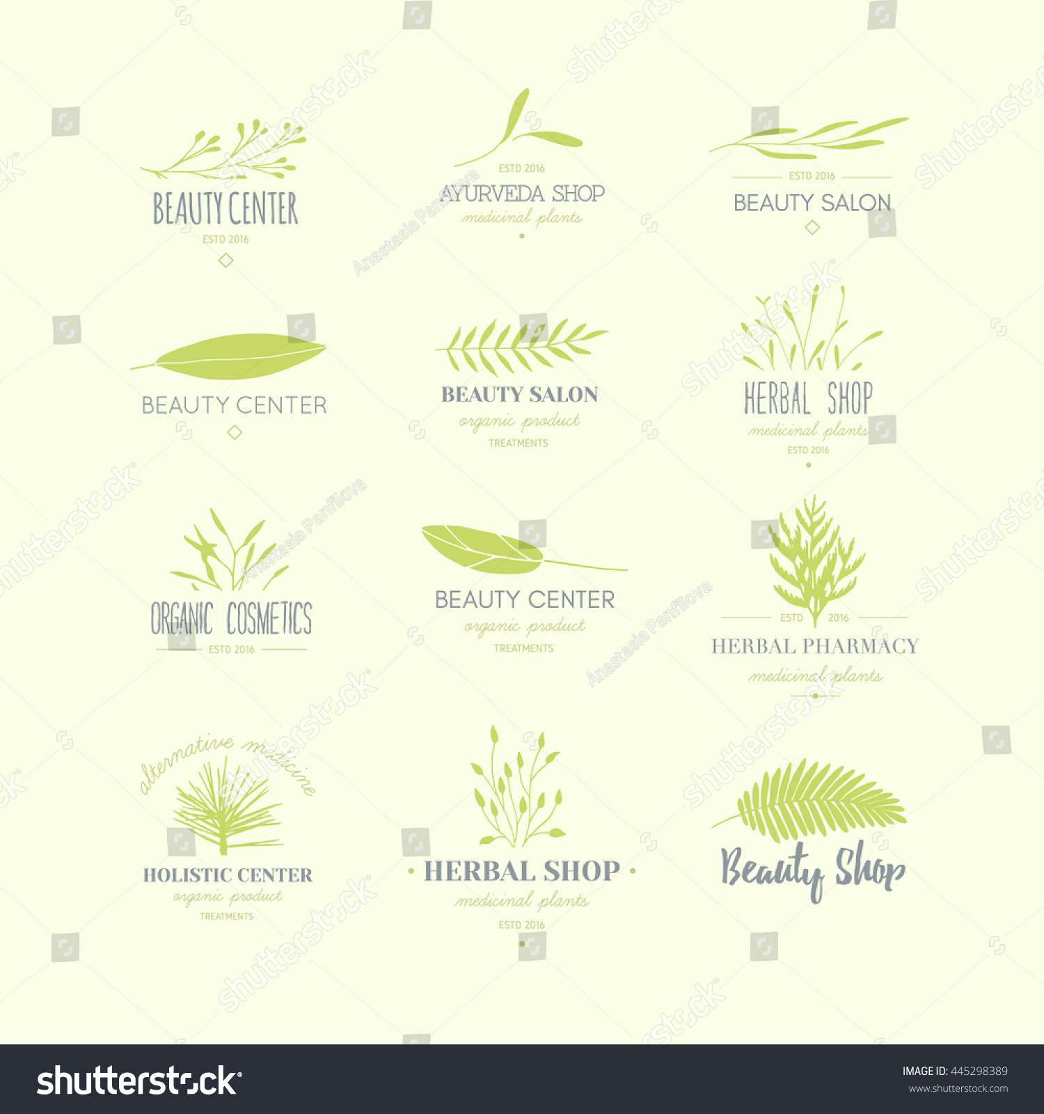 Collection Of Hand Drawn Logotypes: Vector Trendy Hand Drawn Beauty, Organic Cosmetics