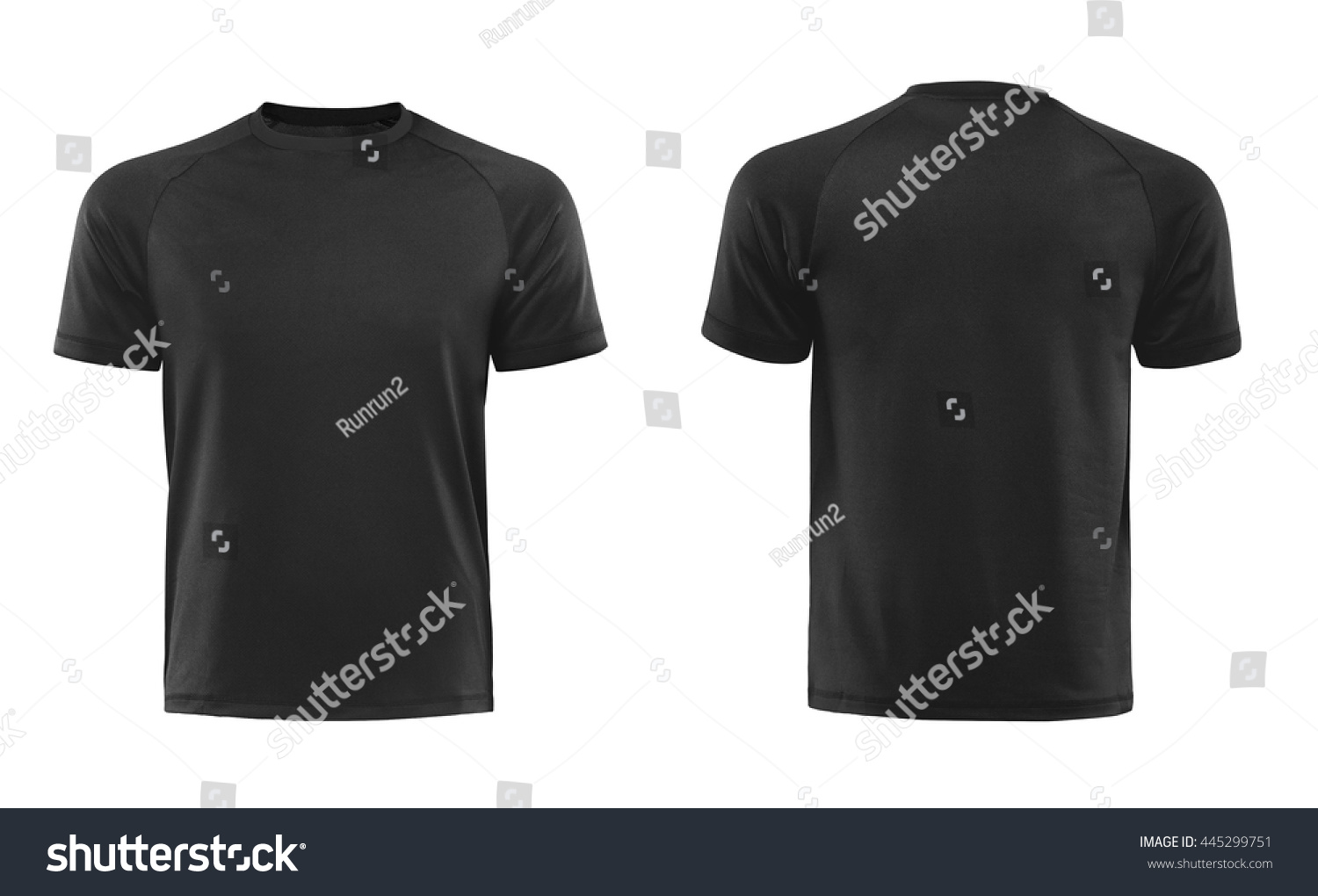 Black t shirt front - Black T Shirts Front And Back Used As Design Template Isolated On White