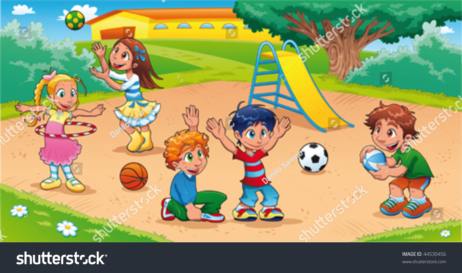 kids in the playground funny cartoon and vector scene