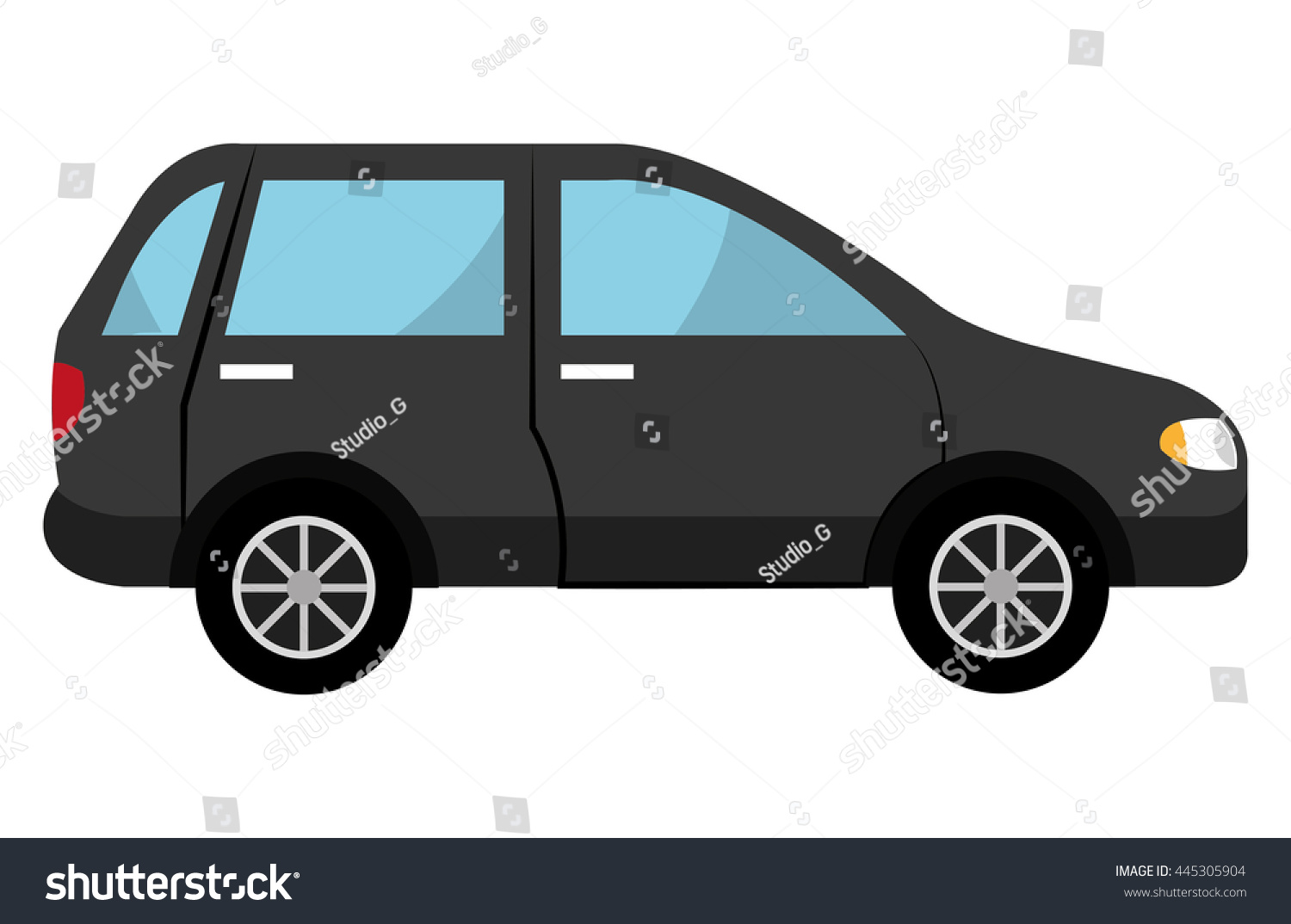 Black Suv Car Side View Over Stock Vector Shutterstock