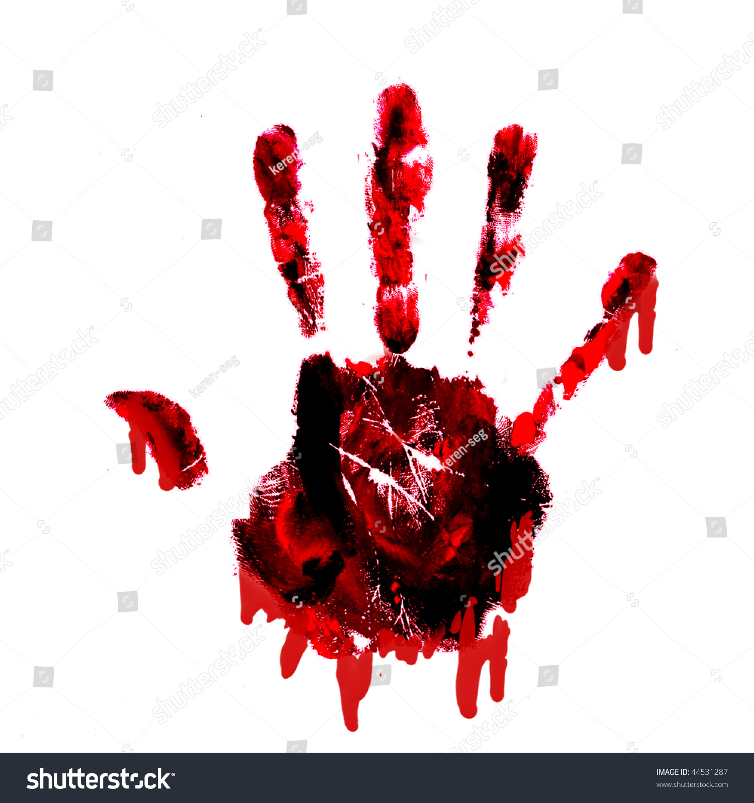 bloody handprint with drips isolated on white background