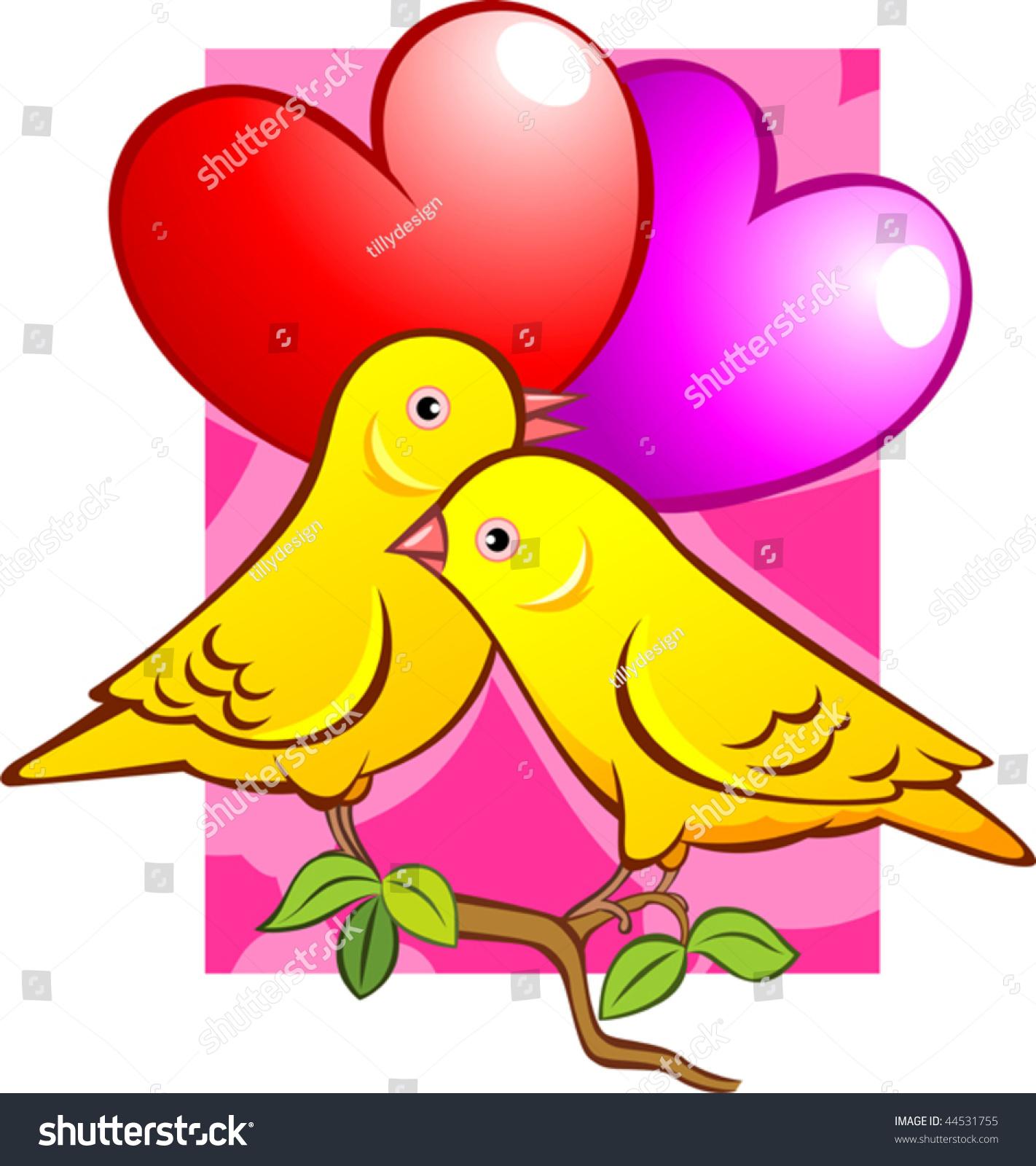 Illustration Love Symbols Two Birds Stock Vector Royalty Free