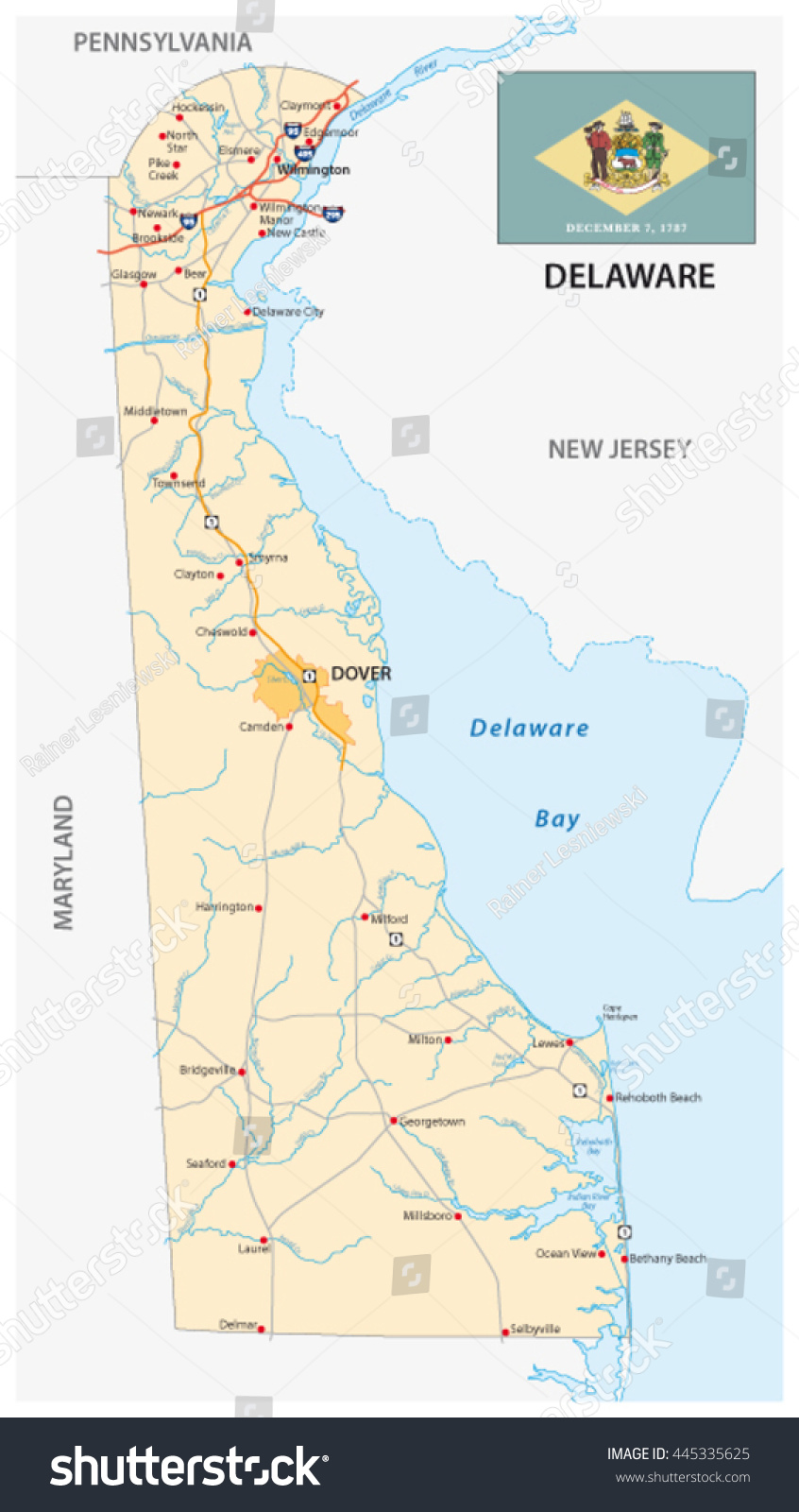 Road Map Us State Delaware Flag Stock Vector Shutterstock - State of delaware map