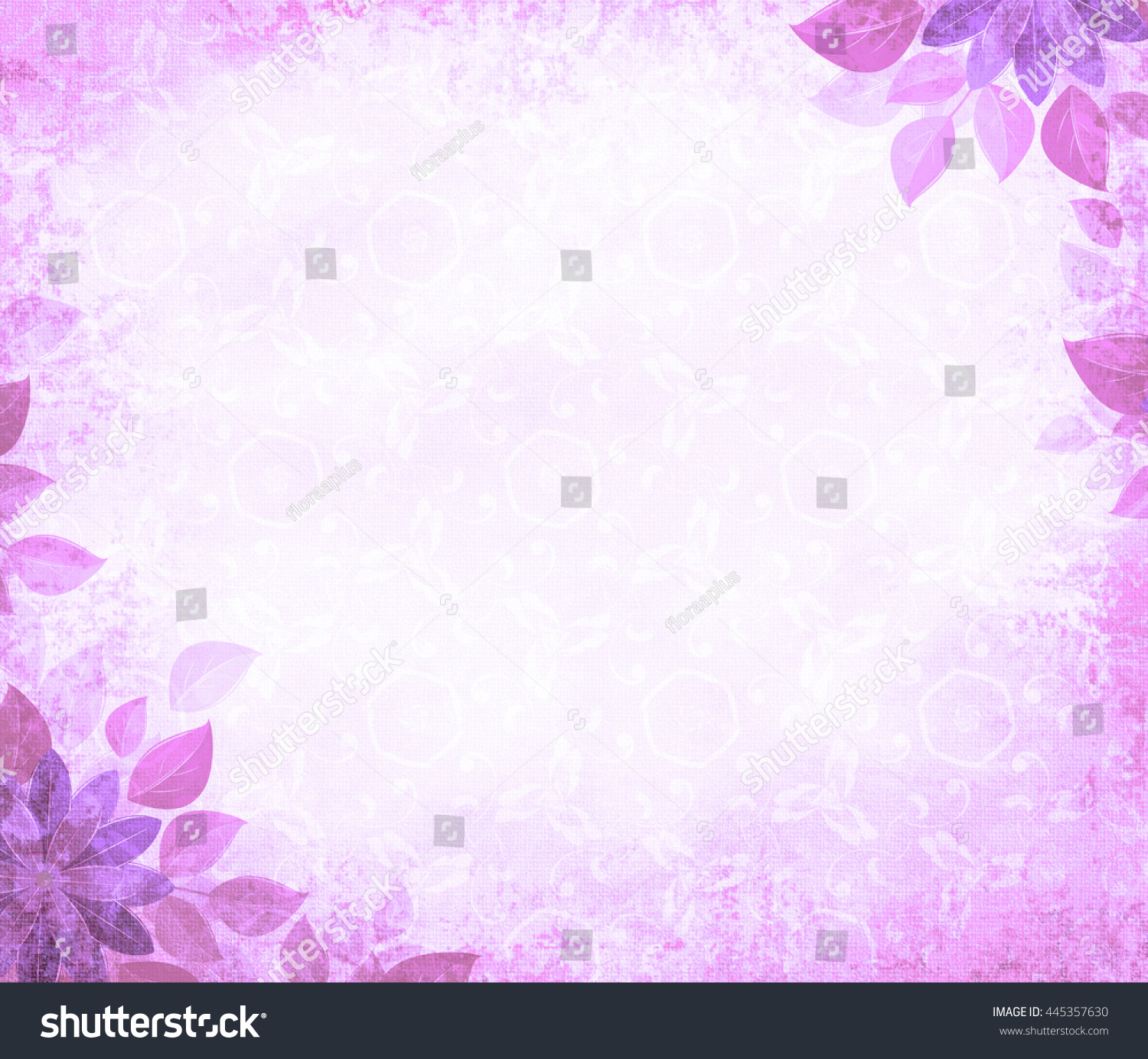 Background grunge with flower corners, purple. The basis for design or the text on a rough cloth, in ancient style.