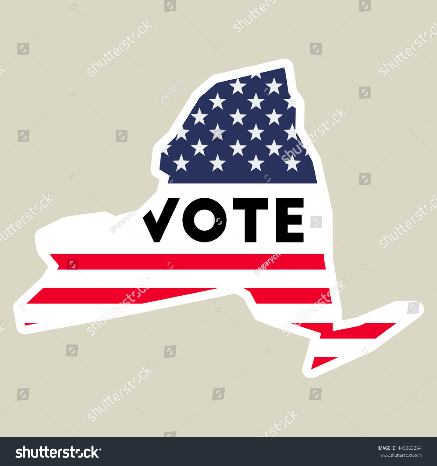 Usa Presidential Election 2016 Vote Sticker New York State Map Outline With Us Flag Preview Save To A Lightbox