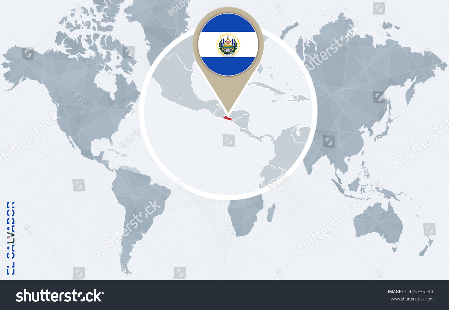 Abstract Blue World Map Magnified El Stock Vector 445365244