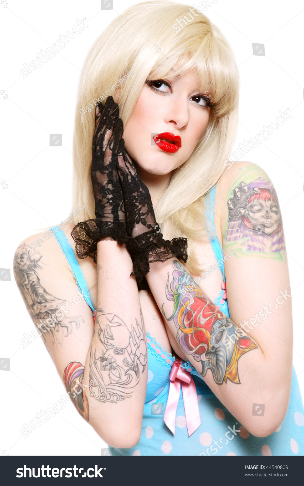 Blonde girl with tattoos