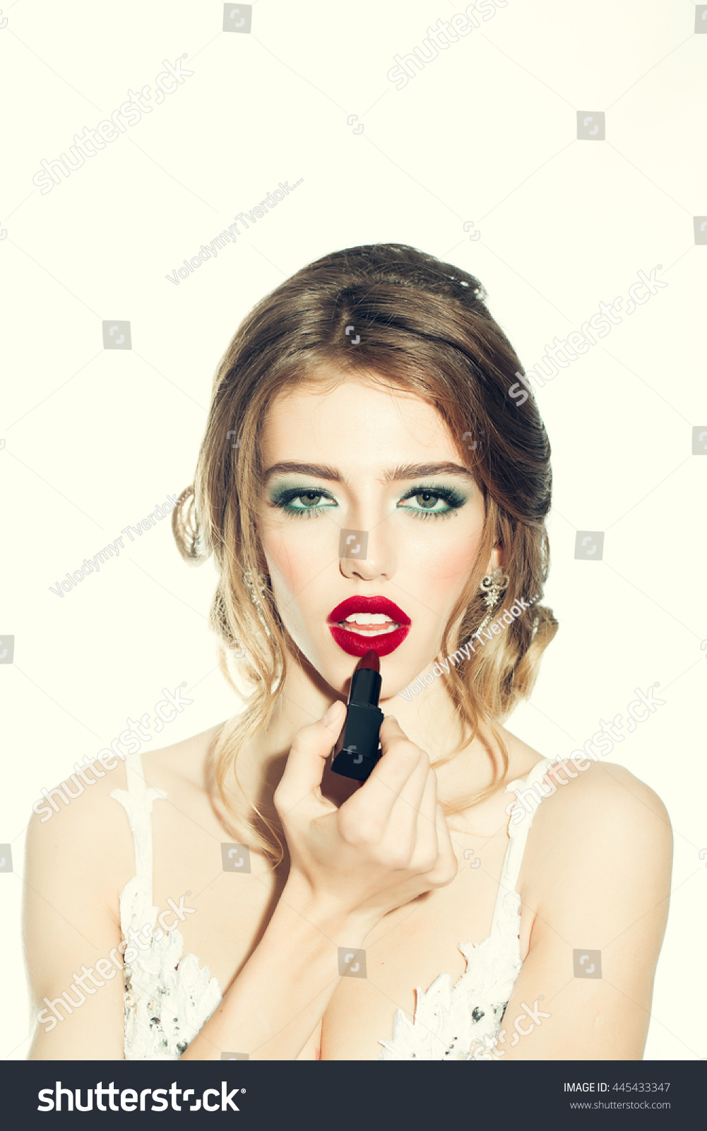 Young Woman Red Lips On Pretty Stock Photo 445433347