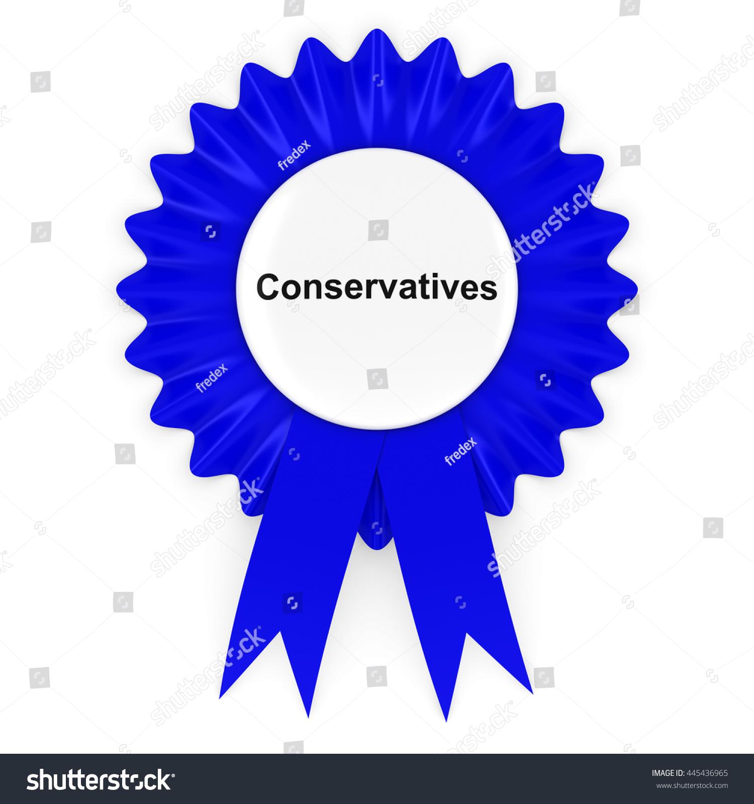 Conservative Party Rosette Badge 3 D Illustration Stock Illustration