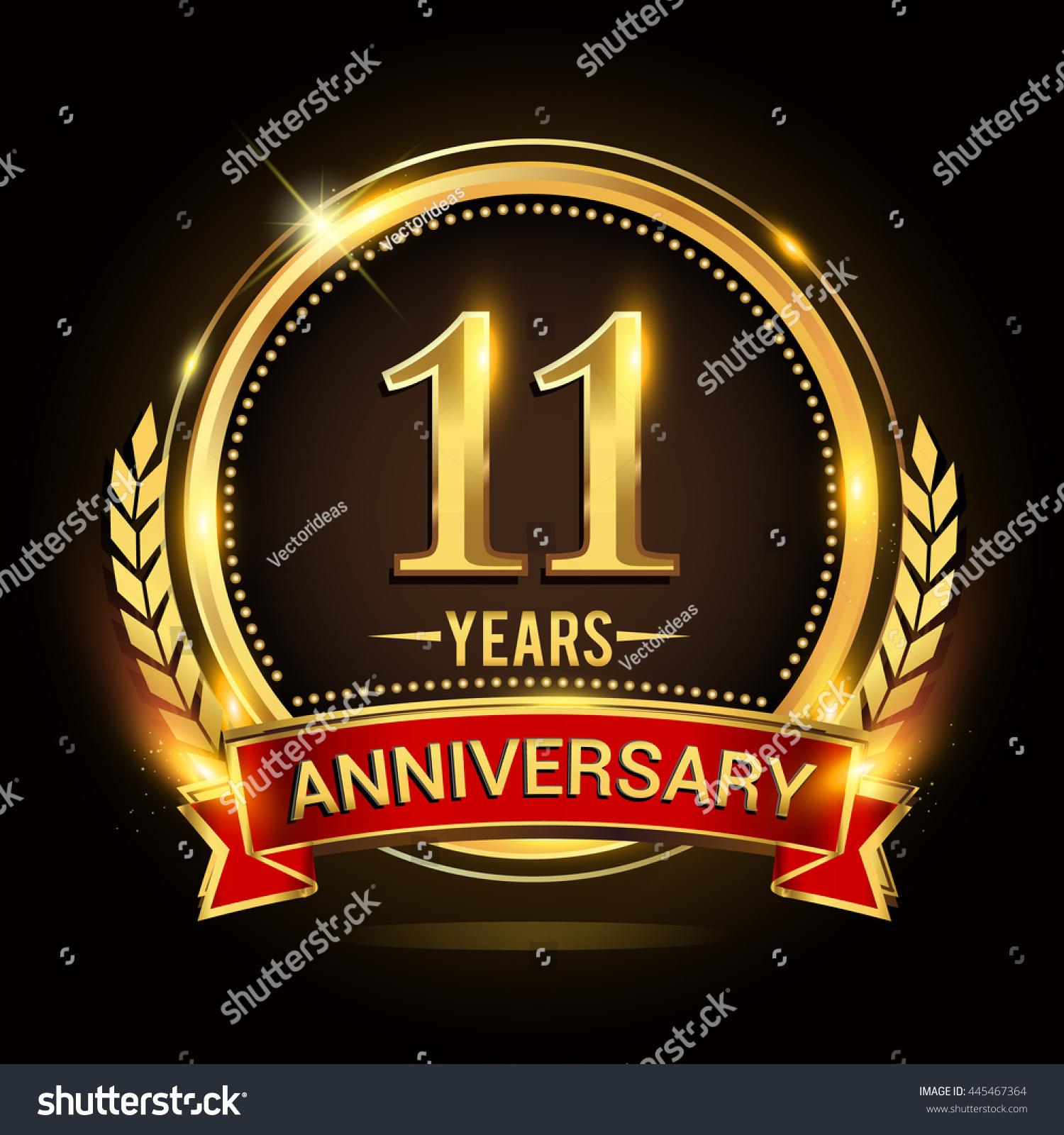 Celebrating 11 Years Anniversary Logo Golden Stock Vector ...