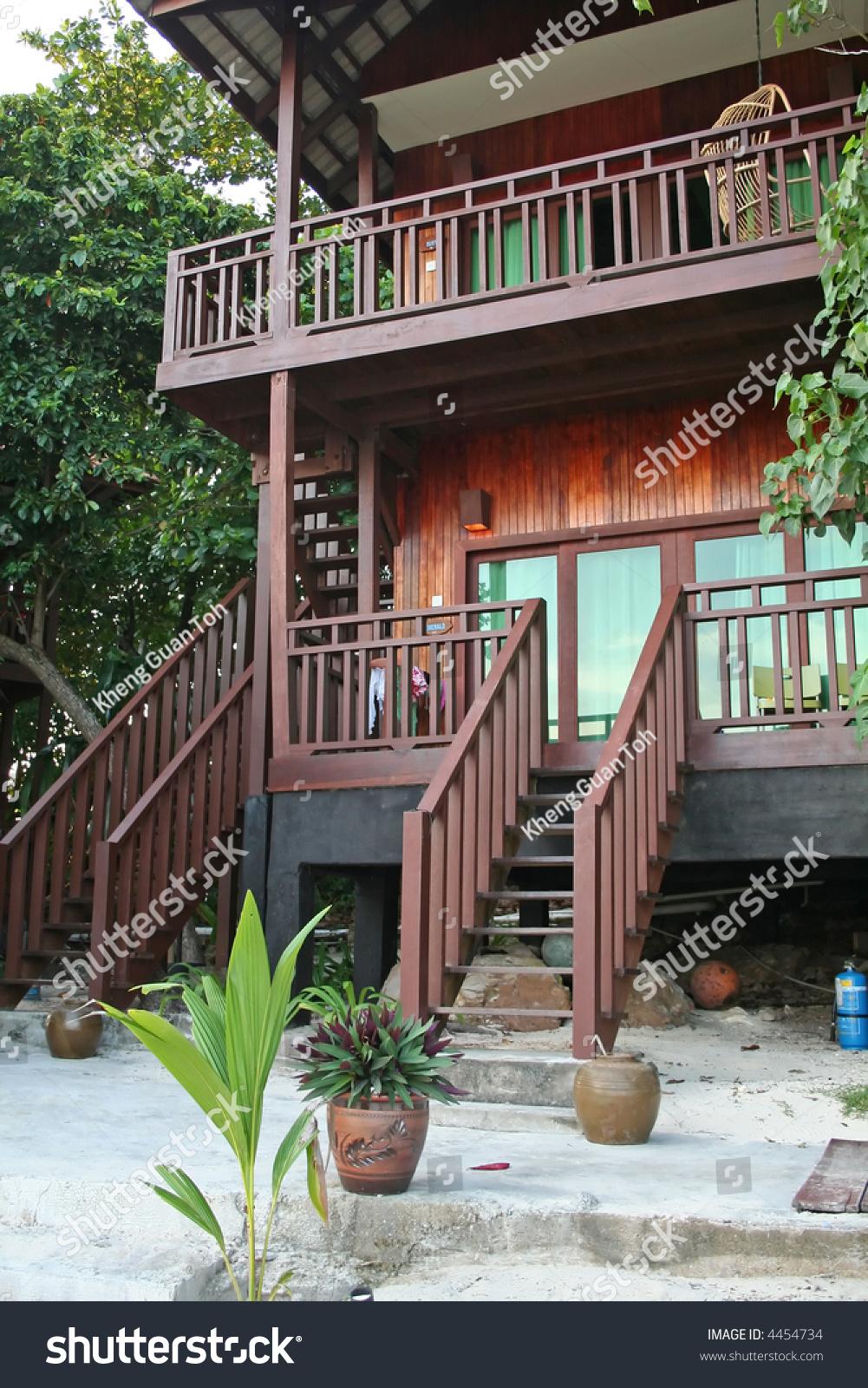 Tropical Balinese Style Resort Beach House Stock Photo