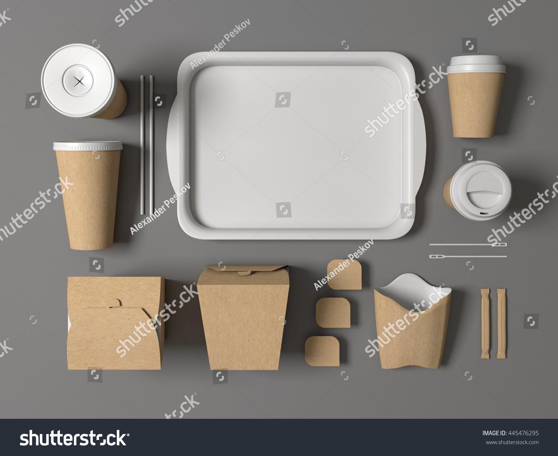 Burger bar set craft paper blank stock illustration for Food bar mockup