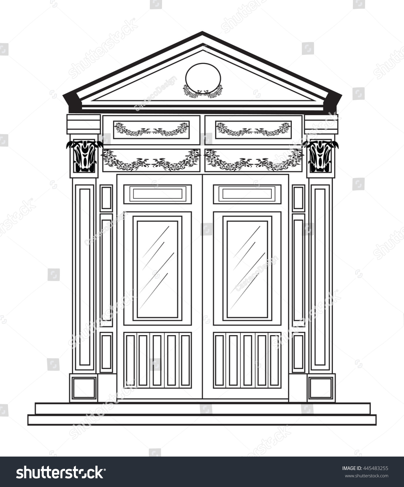 Home Design Architectural Free Download Entrance Classic Style Vector Architectural Facade Stock