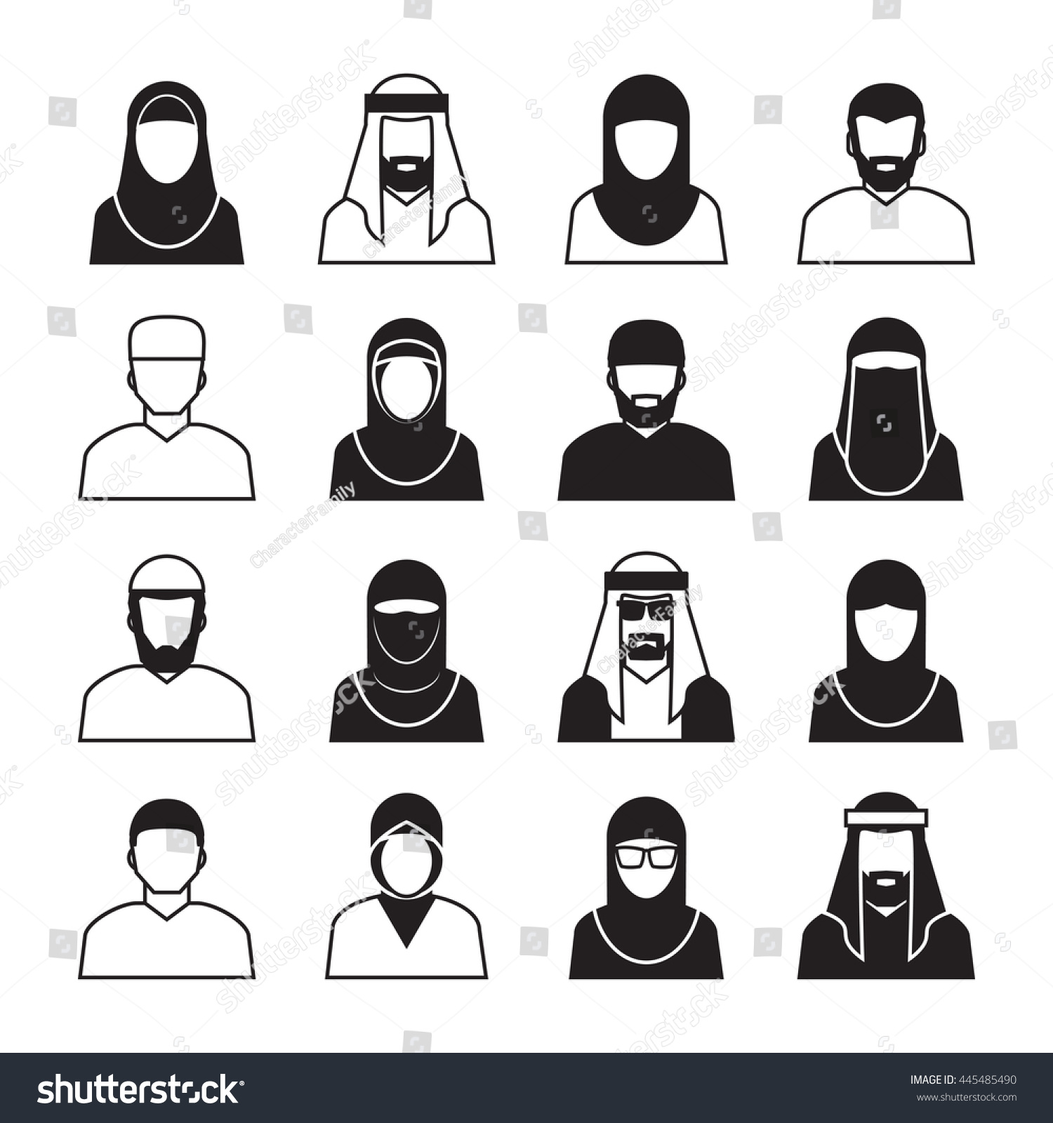 Middle Eastern People Vector Icons Symbol Stock Vector Royalty Free