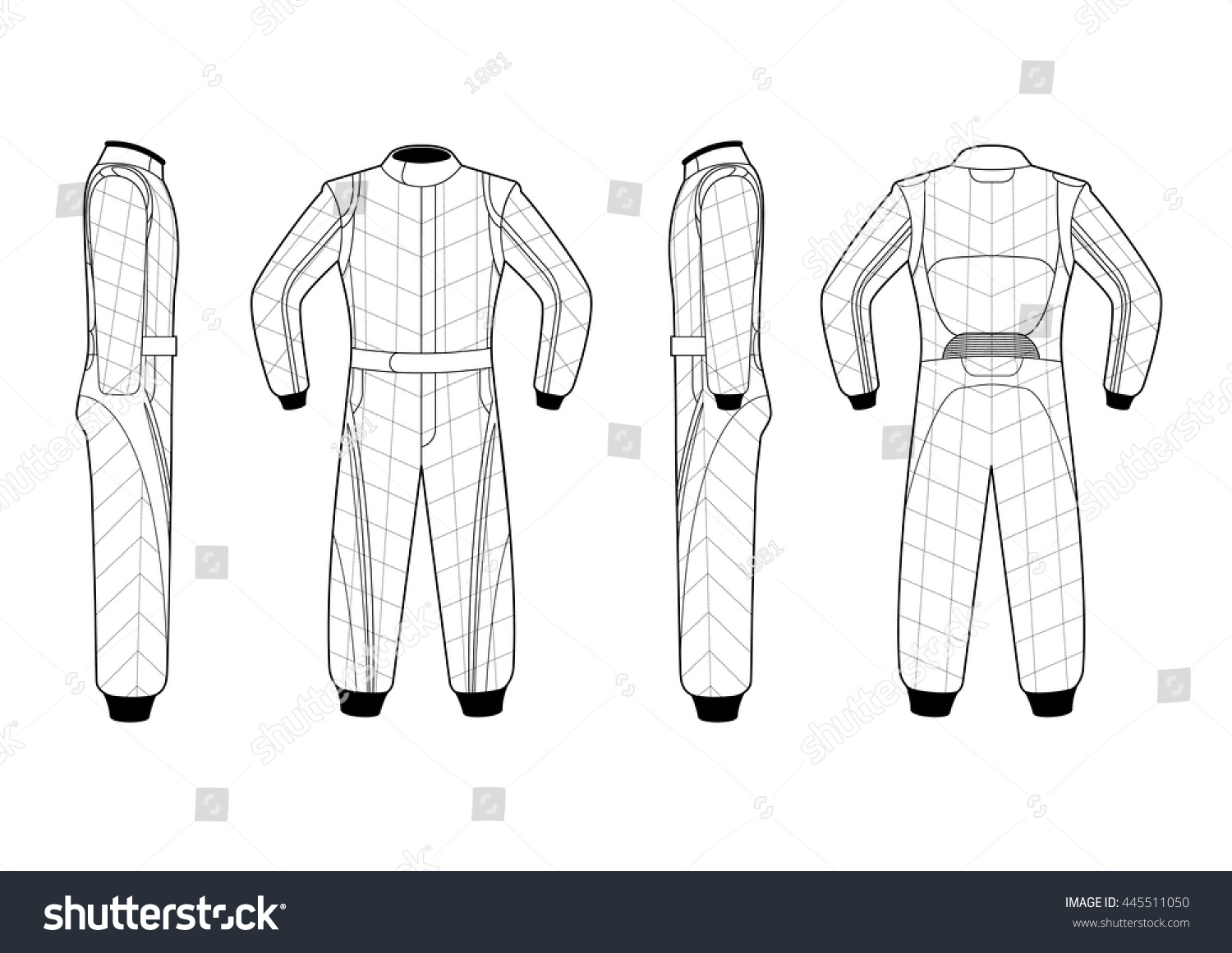 Illustrated Vector Race Suit Stock Vector Royalty Free 445511050