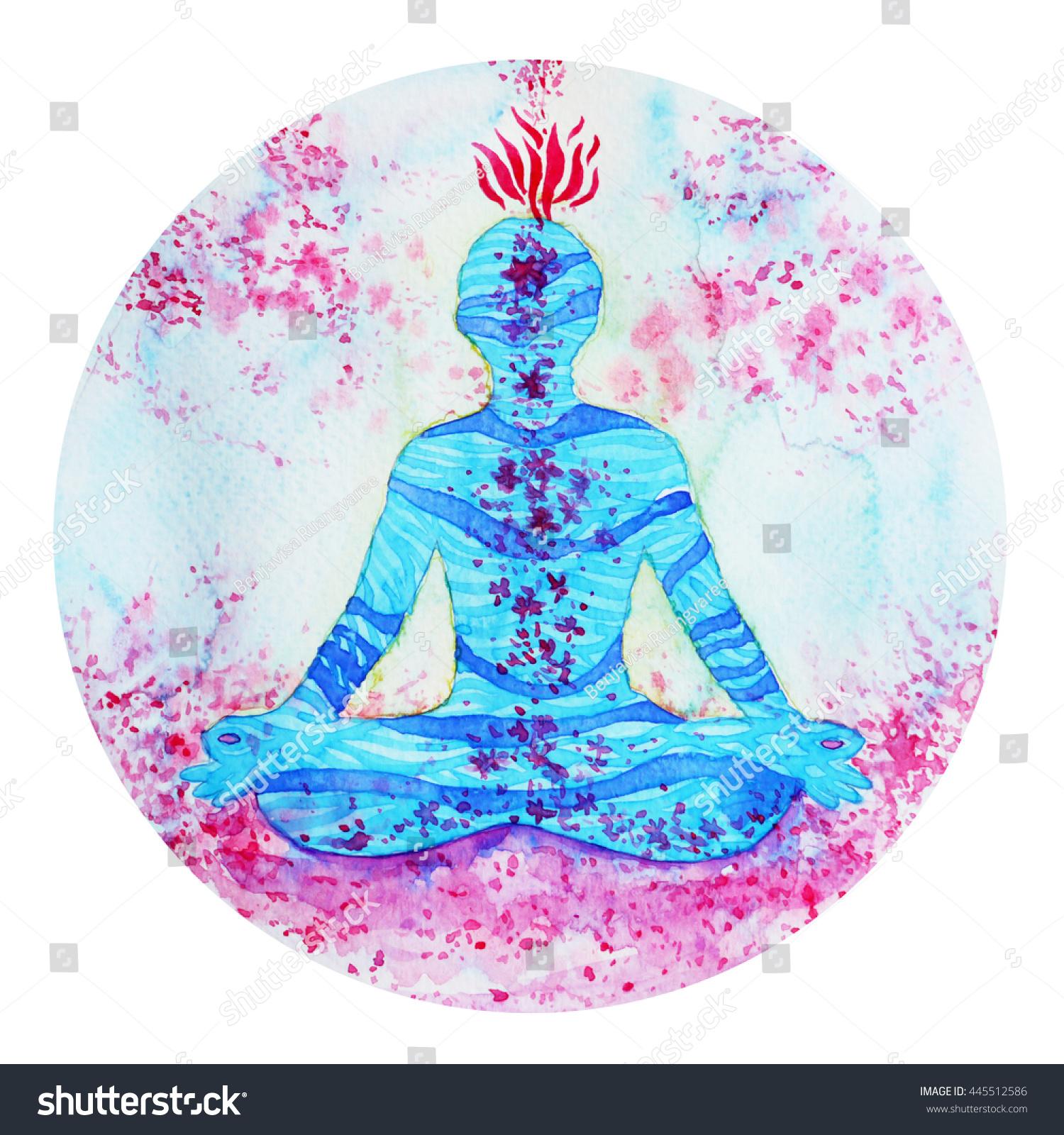 Lotus Pose Yoga Chakra Symbol Nature Stock Illustration 445512586